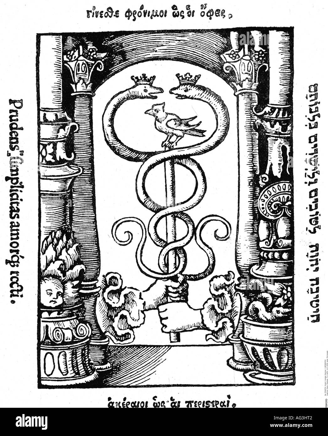 More, Thomas, 7.2.1478 - 6.7.1535, English philosopher und politician, works, 'Utopia', 1515, tailpiece, woodcut by Hans Holbein the Younger, Morus, literature, , Additional-Rights-Clearances-NA - Stock Image