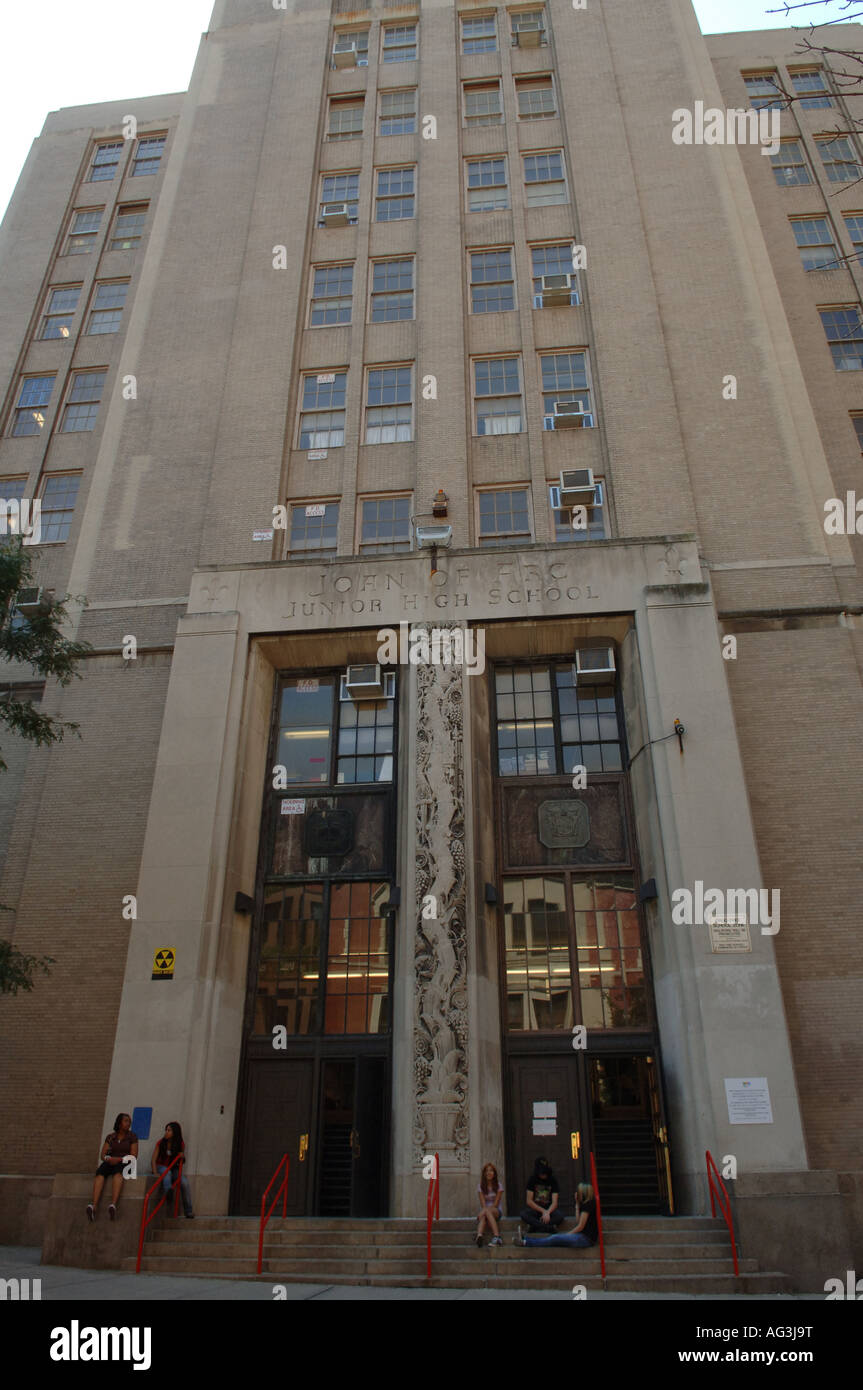 St Joan of Arc Junior High School in NYC - Stock Image