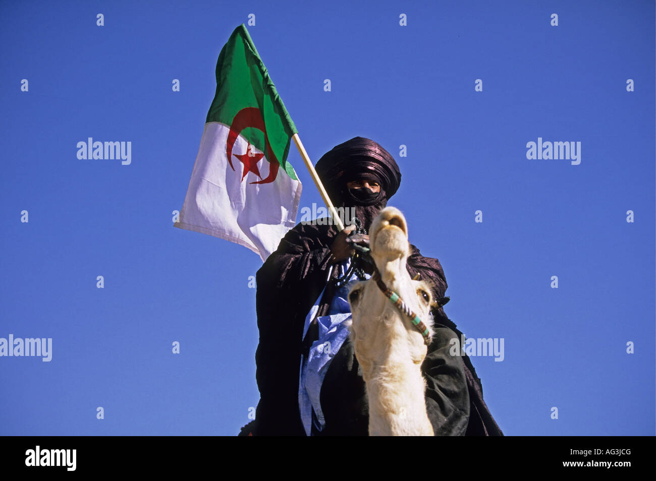 Algeria Tamanrasset Man of Tuareg tribe sitting on camel and holding flag during the TAFSIT or Spring festival - Stock Image