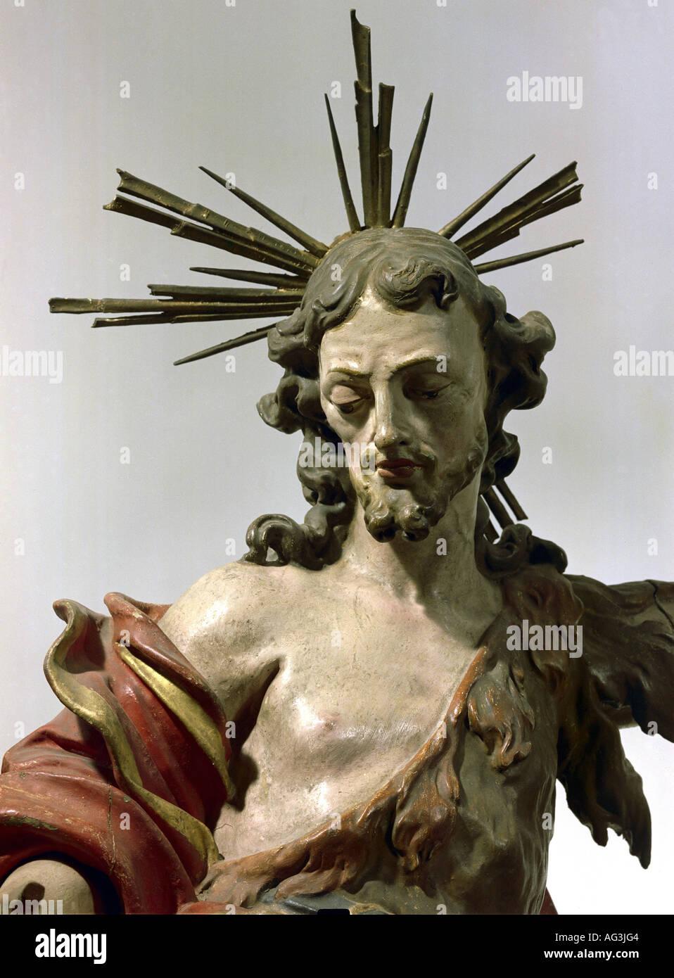 fine arts, sculpture, Saint John the Baptist, 24.6.1 BC - after 29 AD, prophet, martyr, Saint, Tyrolian rococo, Stock Photo