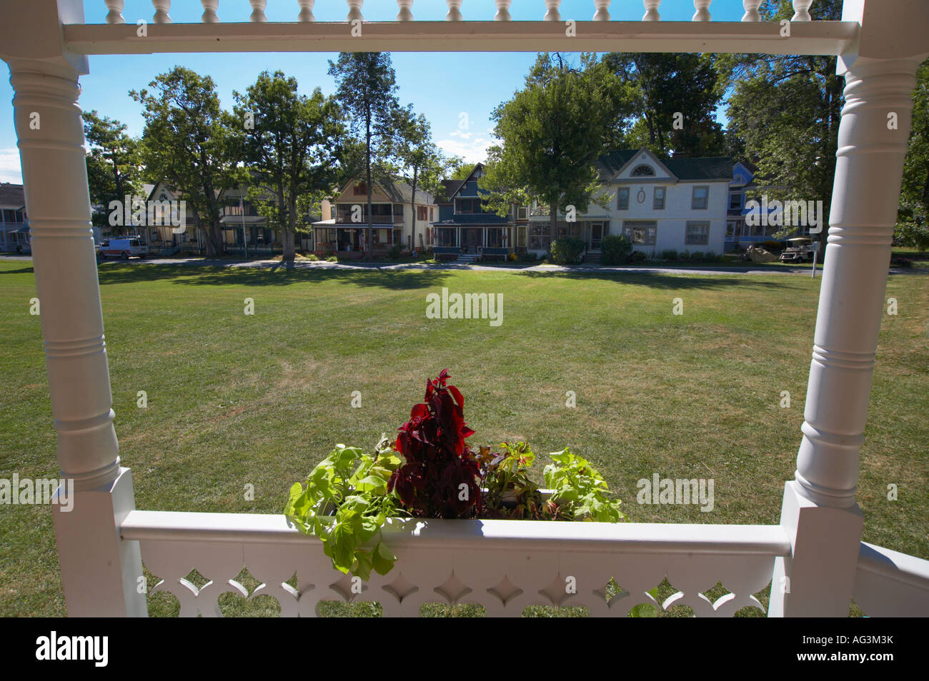 Gazebo at Victorian cottages in Thousand Island Park on Wellesley Island in the Thousand Island St Lawrence Seaway - Stock Image