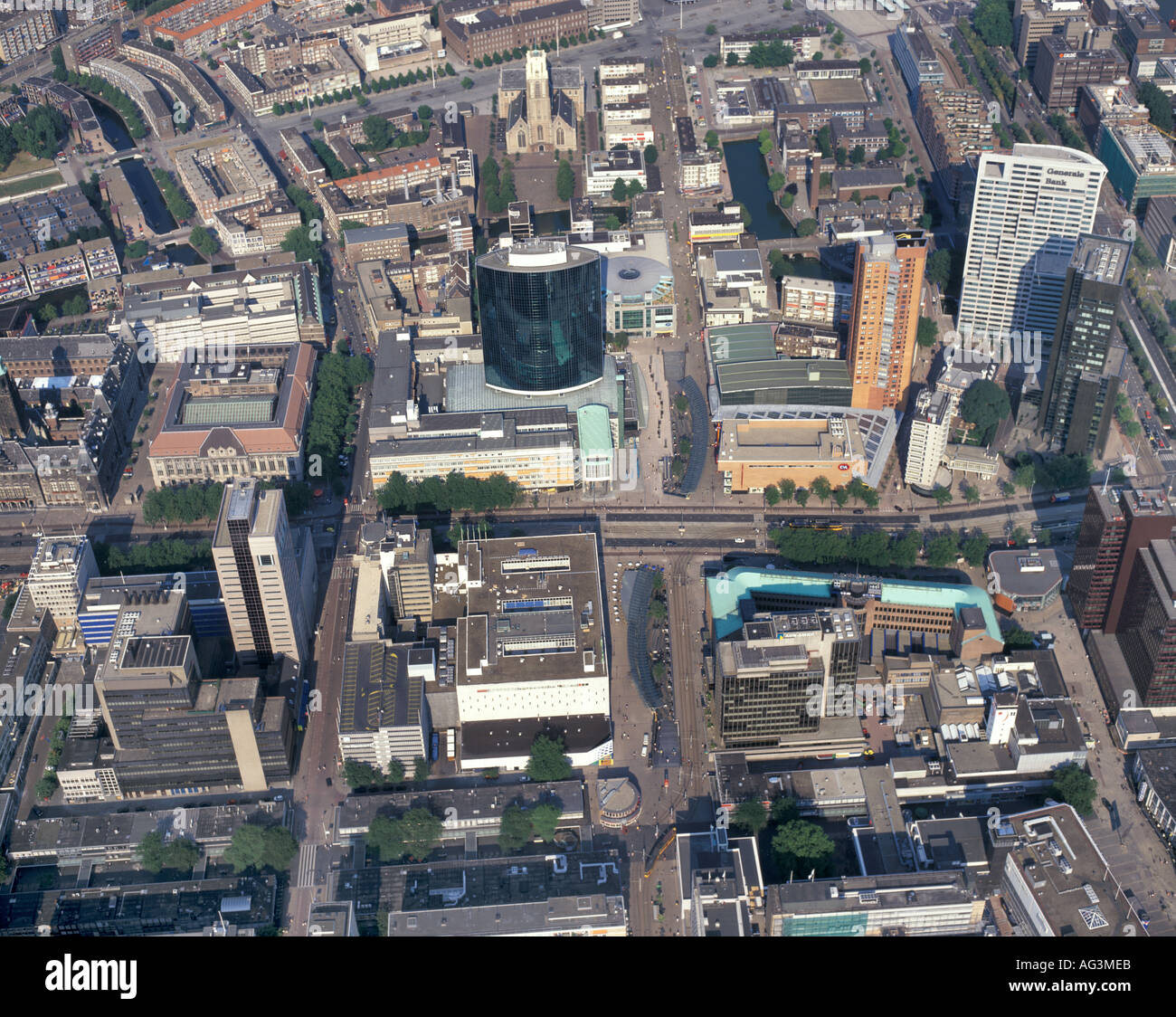 Aerial view of the World Trade Center in Rotterdam Stock Photo