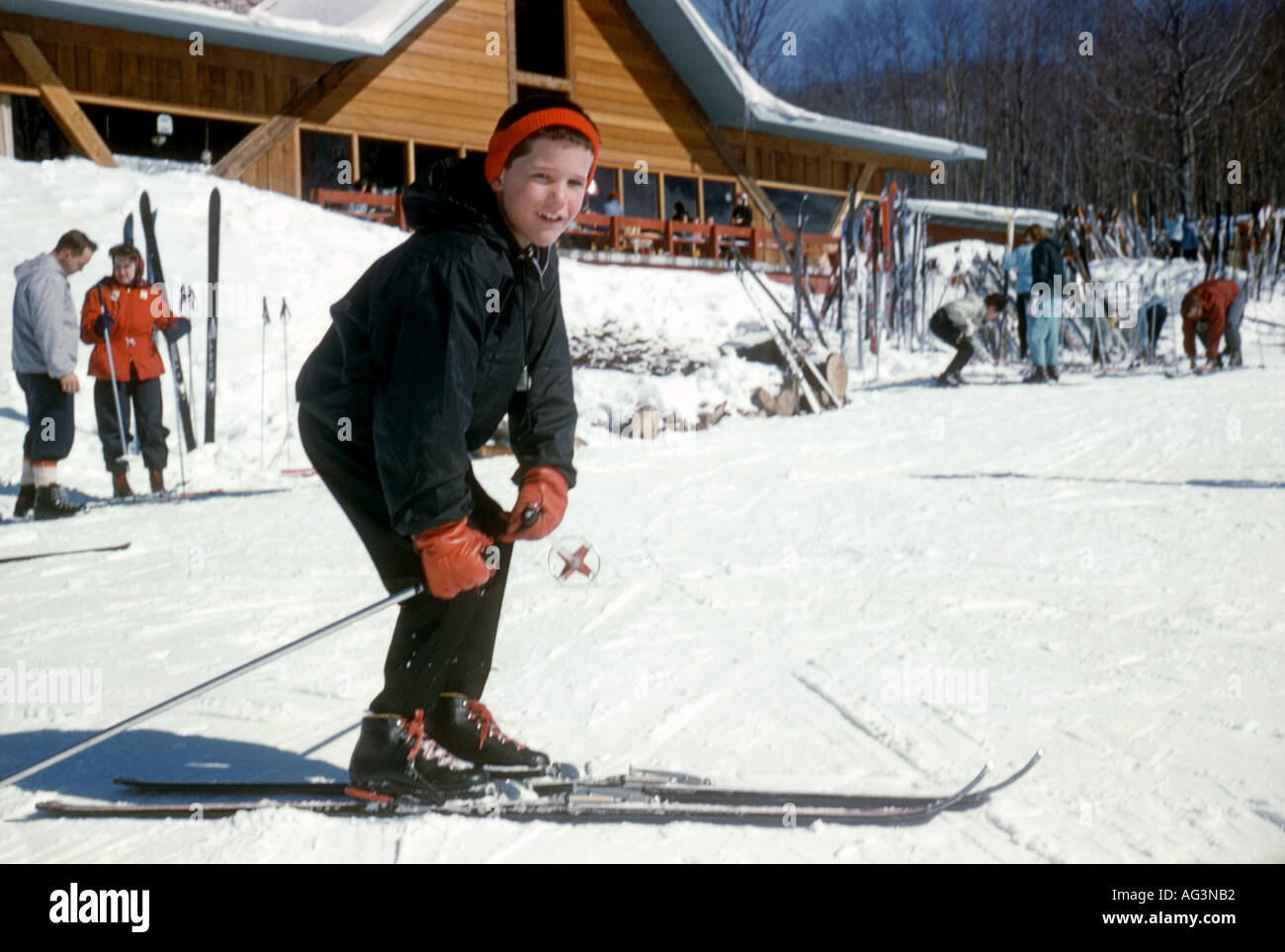 Vintage Young Skier - Stock Image