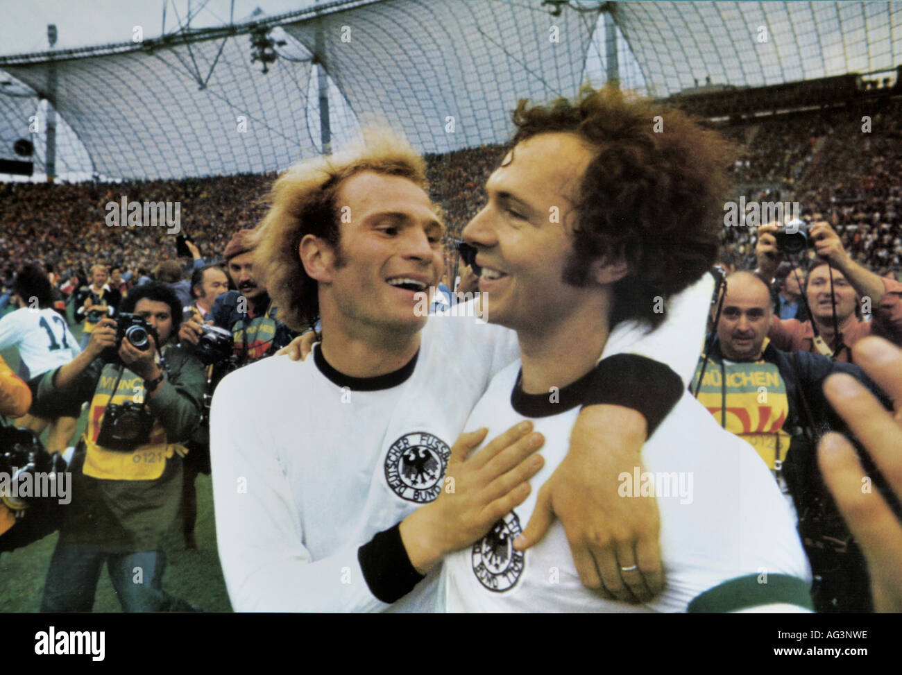 Sport, football, soccer, world championship, WM, finale, Germany about Netherland, (2:1), Munich, Franz Beckenbauer and Uli Hoeness, 7.7.1974, Additional-Rights-Clearances-NA - Stock Image