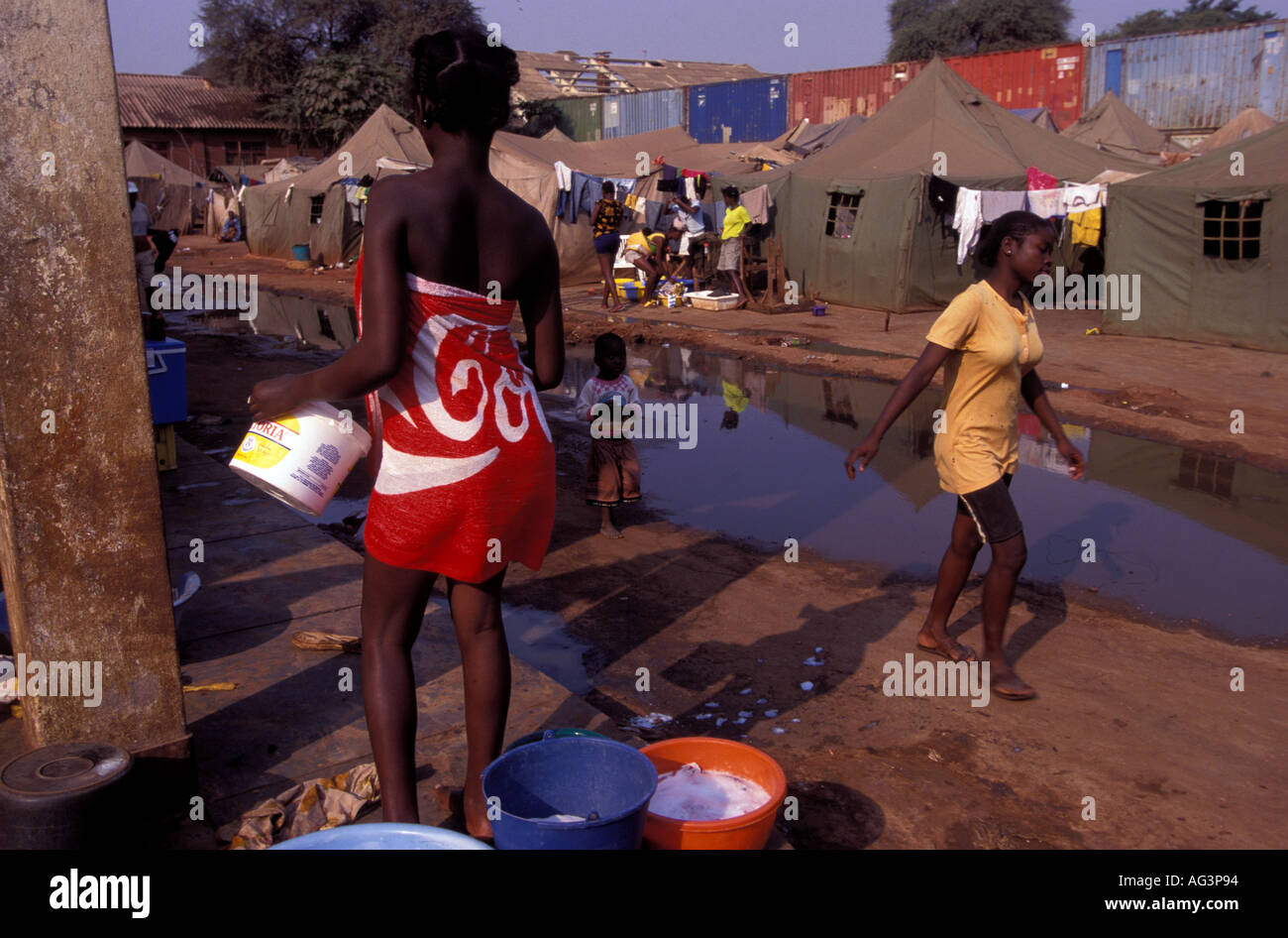 Angola Luanda IDP camp displaced people - Stock Image