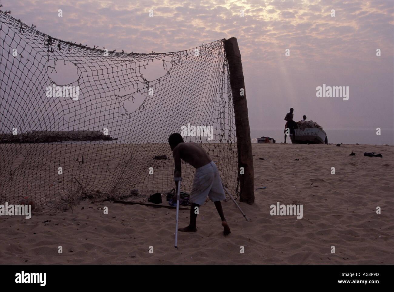 Angola Luanda Polio victim poverty disease - Stock Image