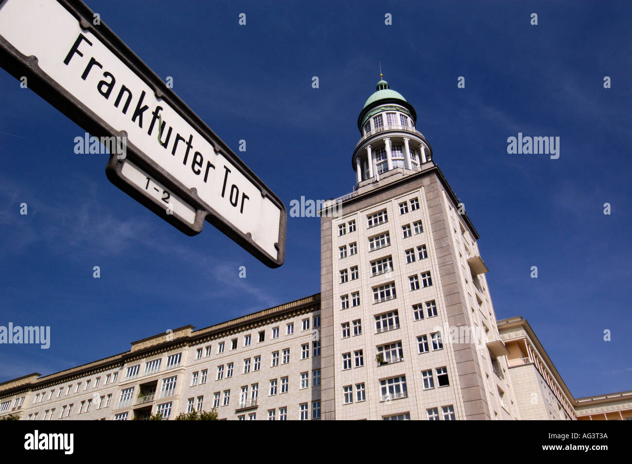 Frankfurter Tor is an example of Stalinist architecture in Karl Marx Allee in Berlin 2005 Stock Photo