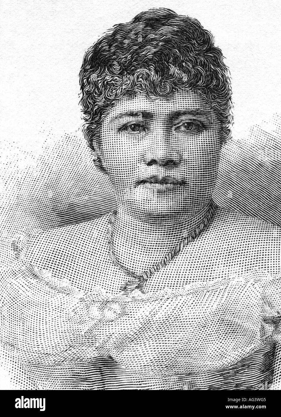 Lili uokalani, 2.9.1838 - 11.11.1917, Queen of Hawaii 17.1.1891 - 11.11.1917, portrait, engraving, circa 1895, Lydia Kamakahea, 19th century, USA, Liliuokalani, Liliuokalami , Additional-Rights-Clearances-NA - Stock Image