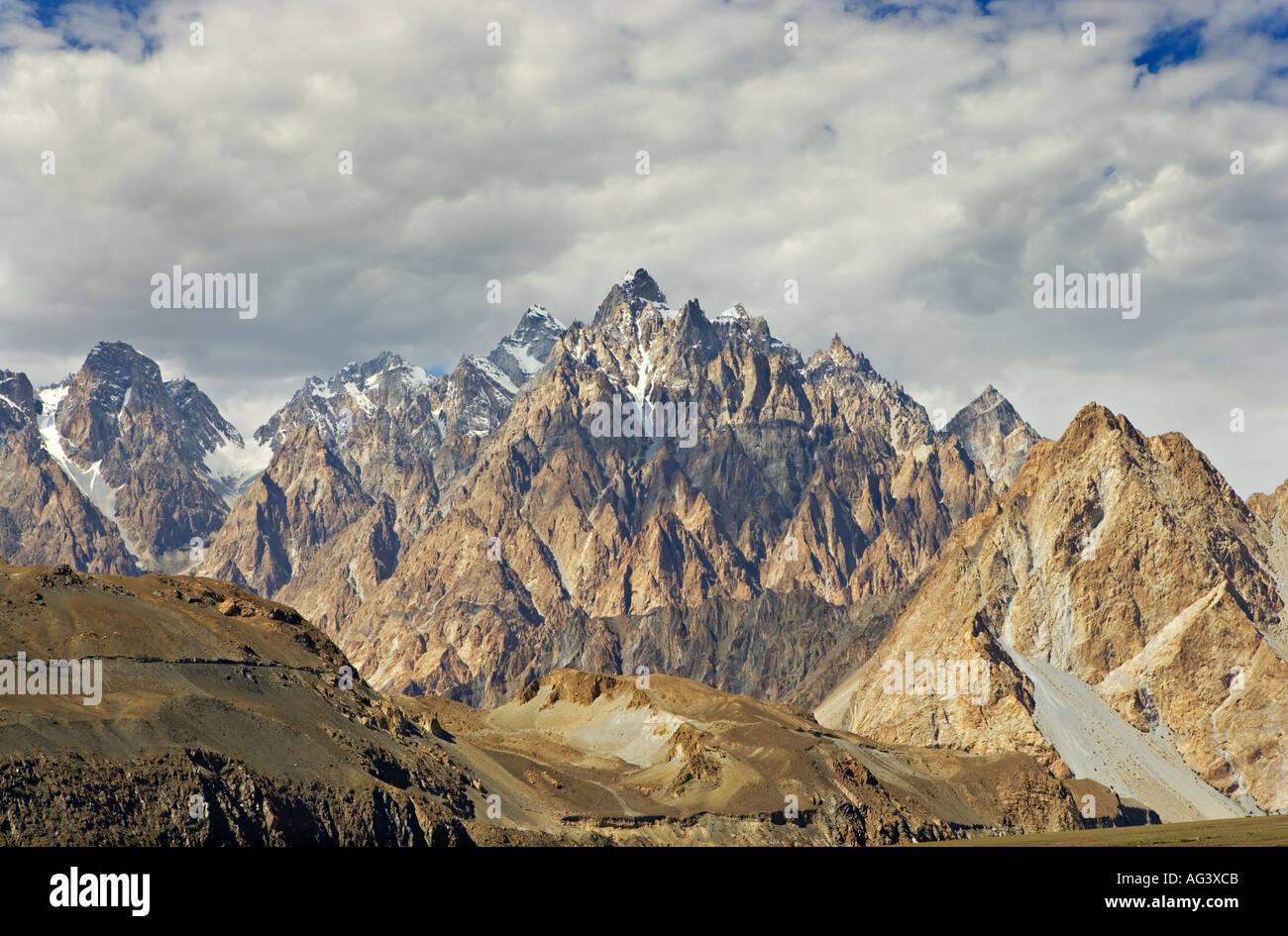 The Passu cones of Hunza as seen from the Karakoram Highway in northern Pakistan - Stock Image