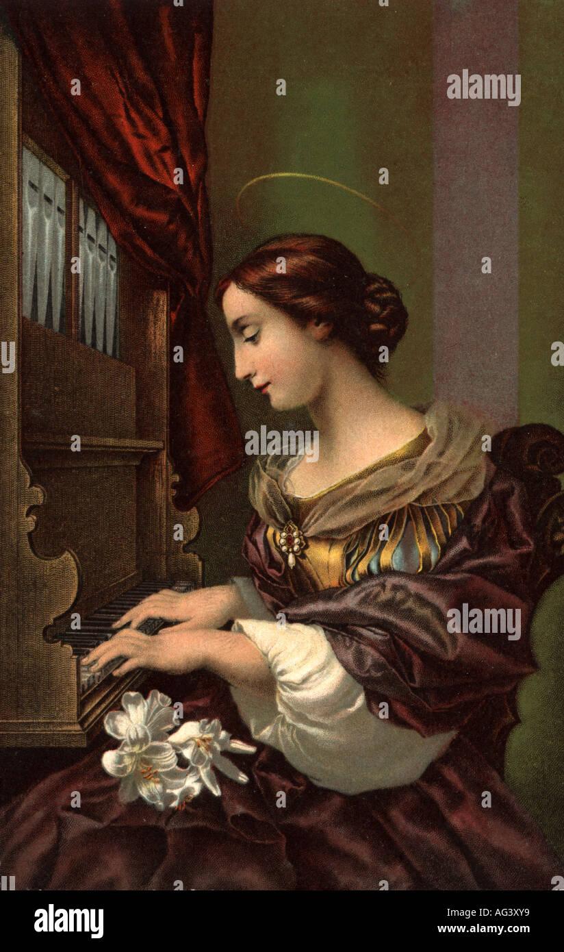 A Saint playing the organ - Stock Image