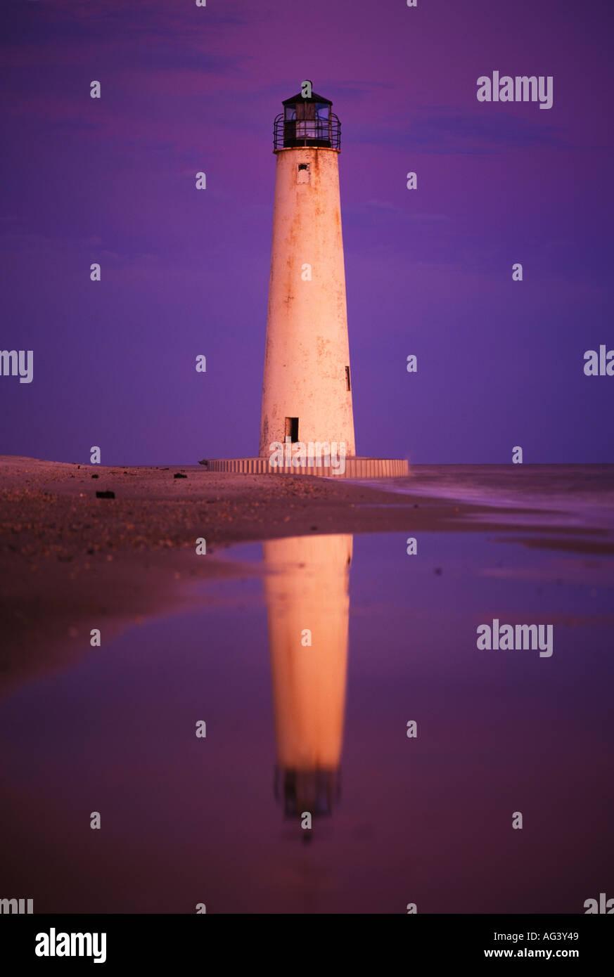 Cape St George Lighthouse At Dusk Apalachicola Estuarine Research Reserve Cape Saint George Island Florida - Stock Image