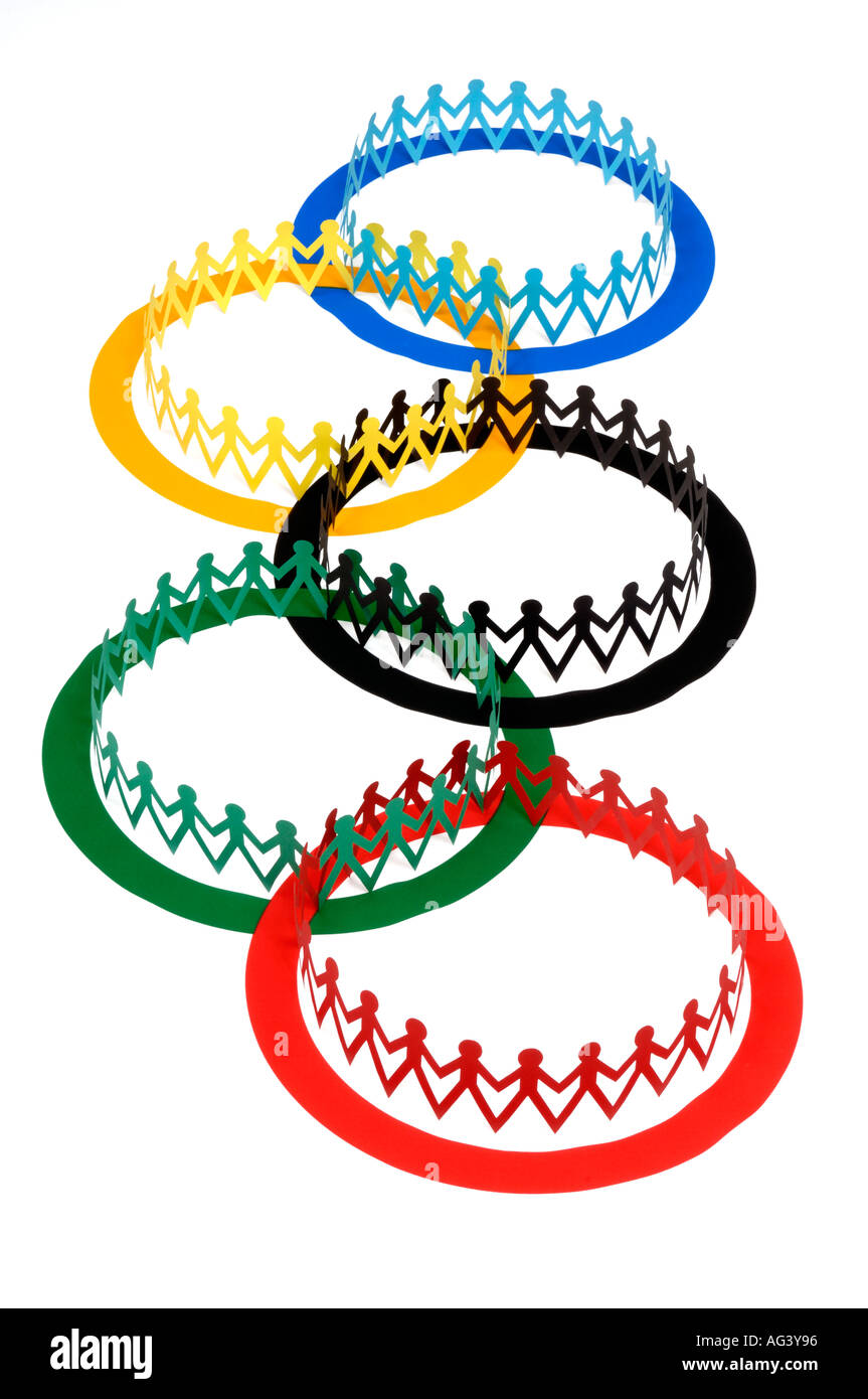 Olympic flag and paper chain people - Stock Image