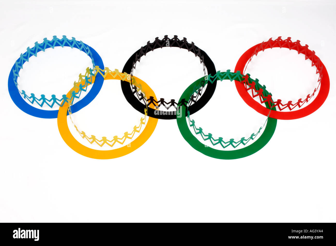 Olympic flag and paper chain people Stock Photo