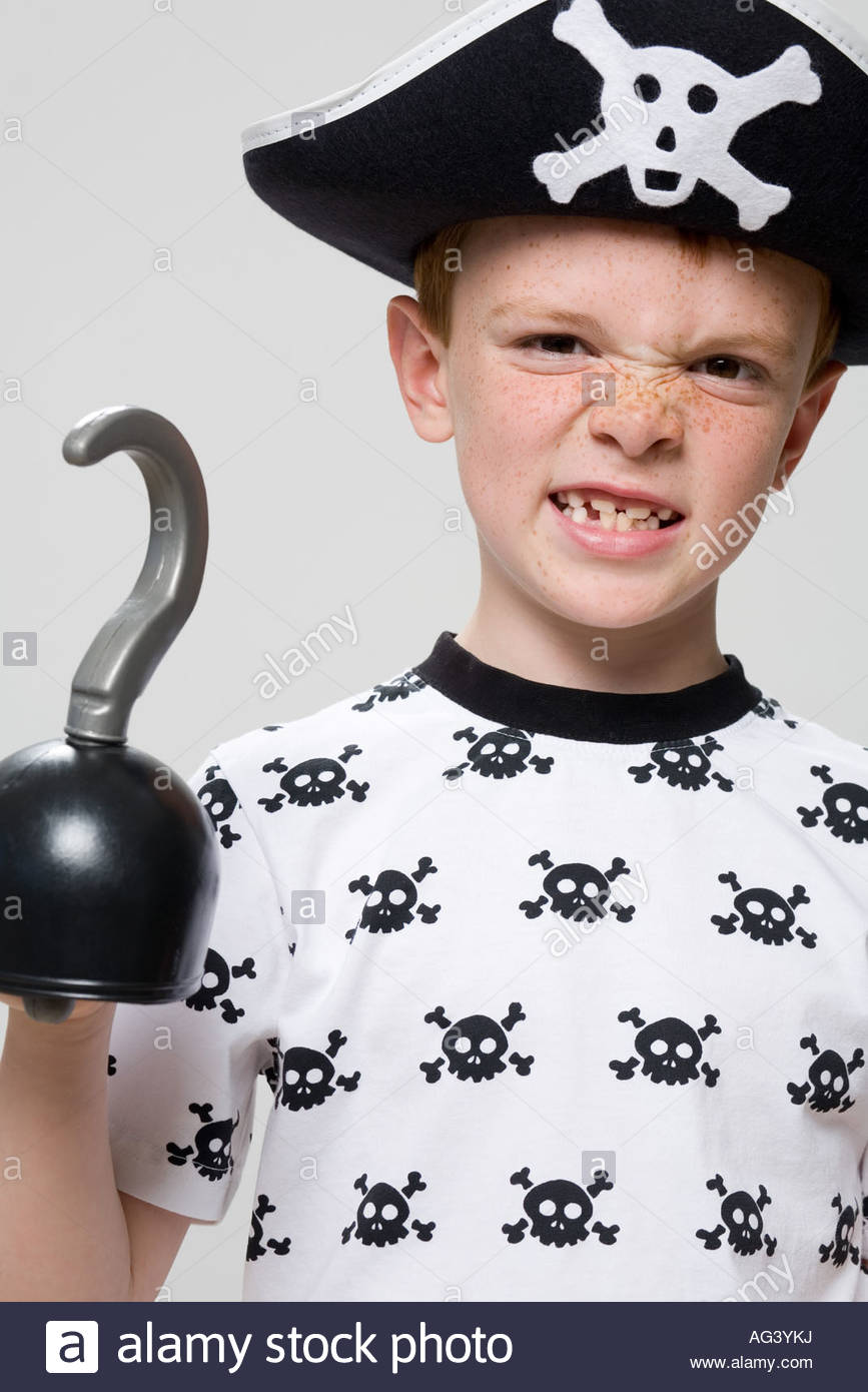Boy dressed a pirate - Stock Image