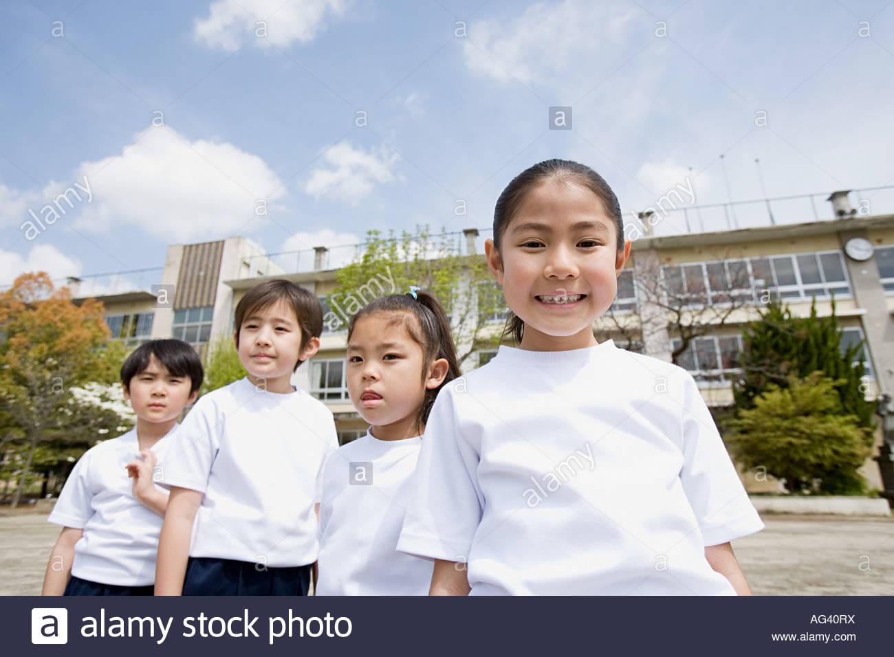 Portrait of school children - Stock Image