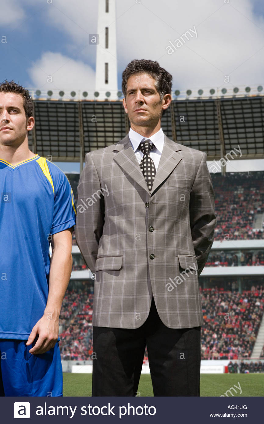 Football manager and footballer - Stock Image