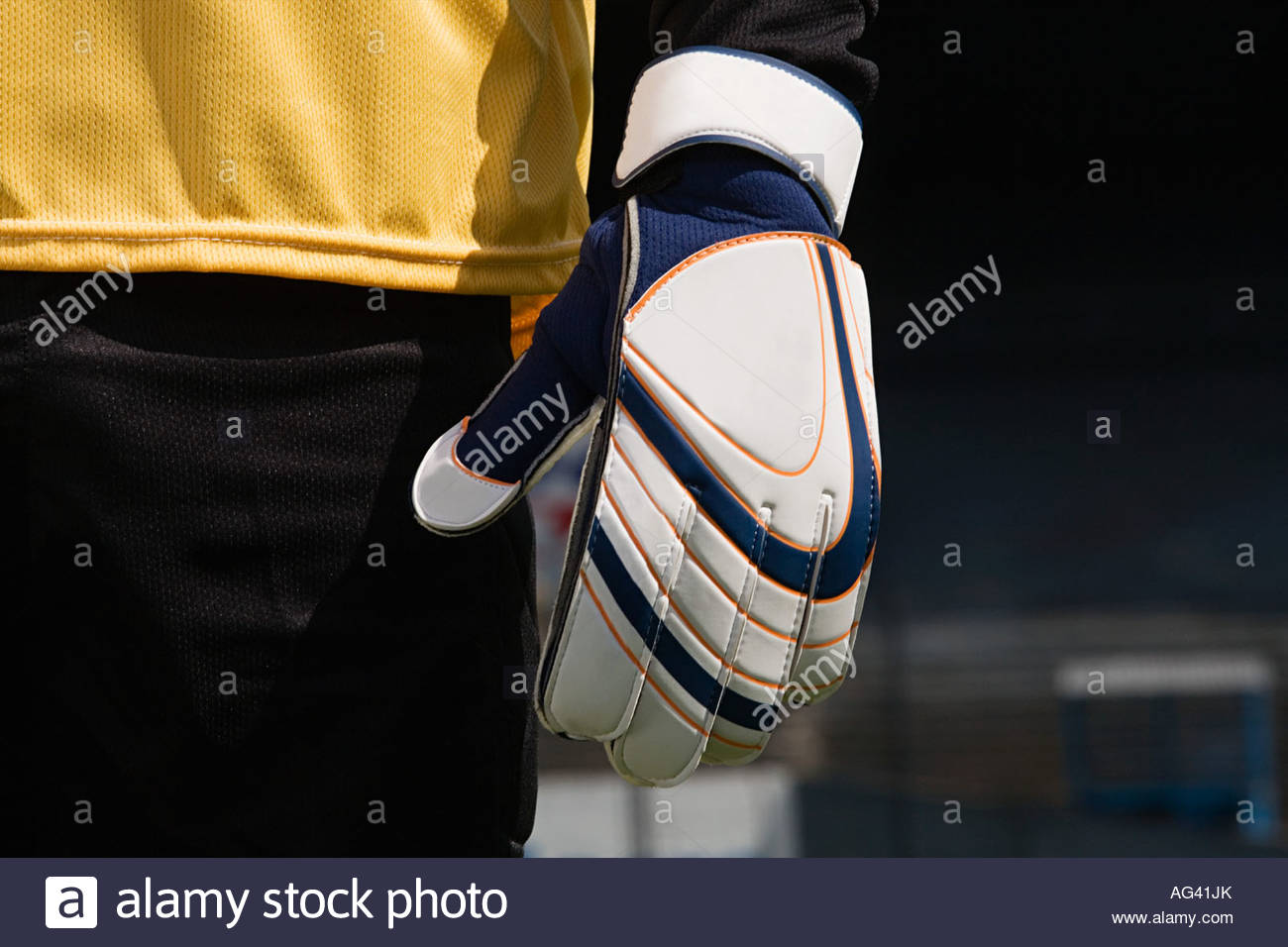 A goalkeepers glove - Stock Image