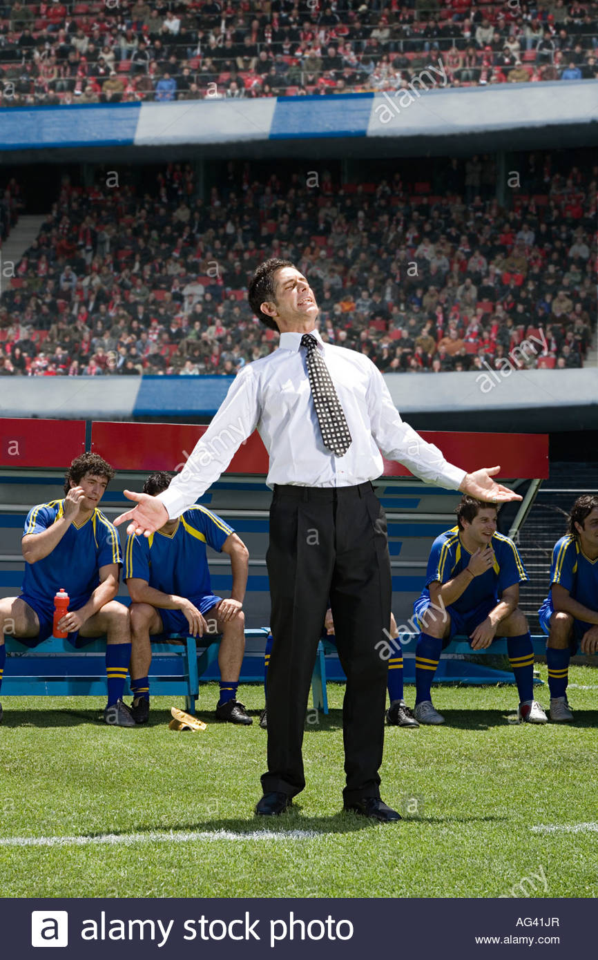 Disappointed football manager - Stock Image