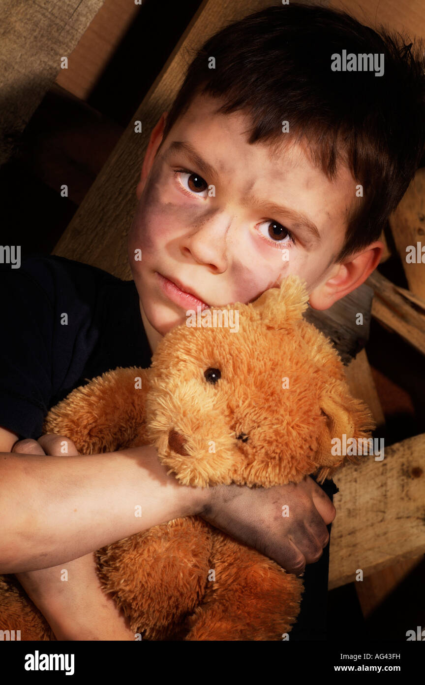 Impoverished boy - Stock Image
