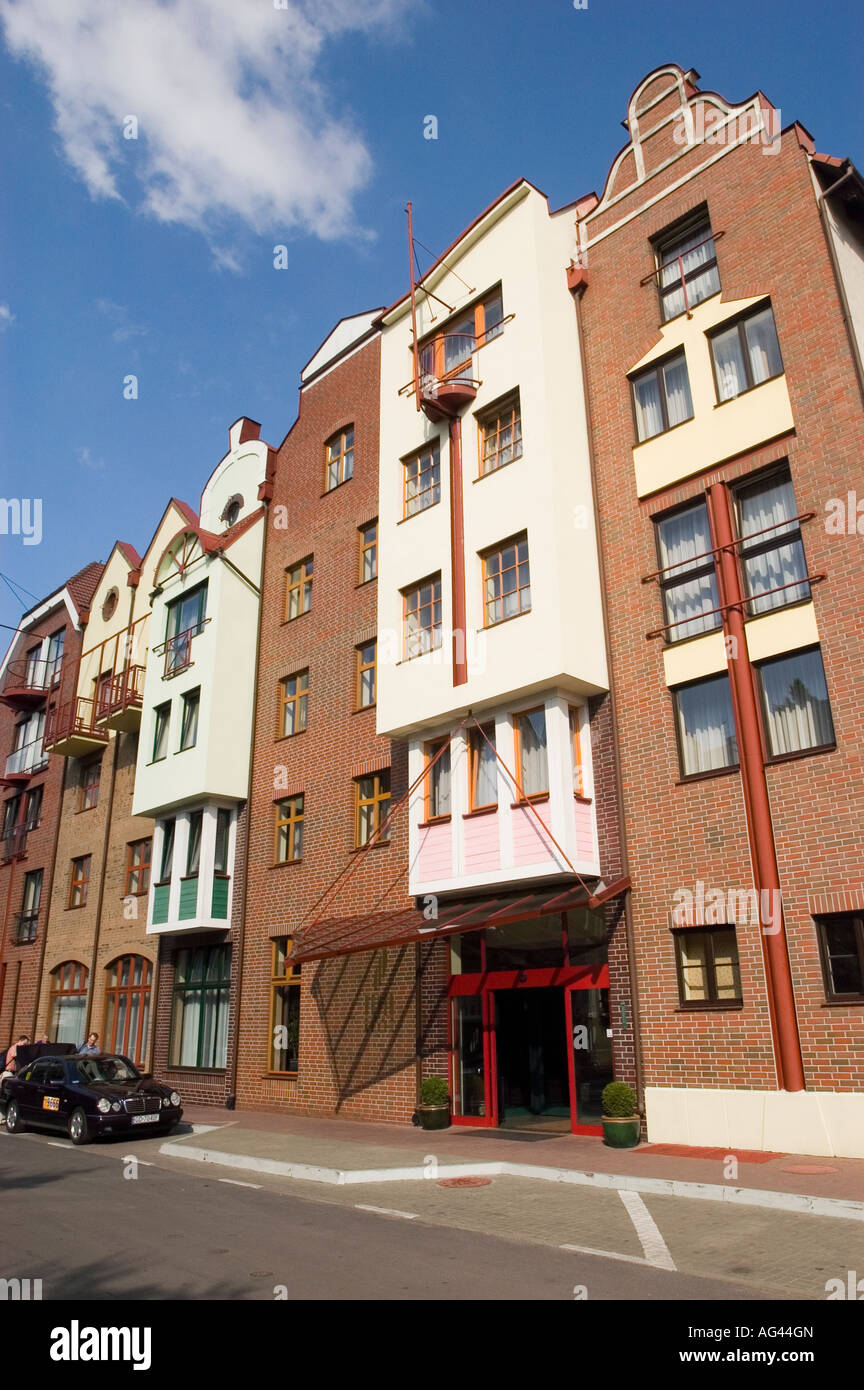 Modern apartment buildings stylised to old hanseatic style in Gdansk, Poland - Stock Image