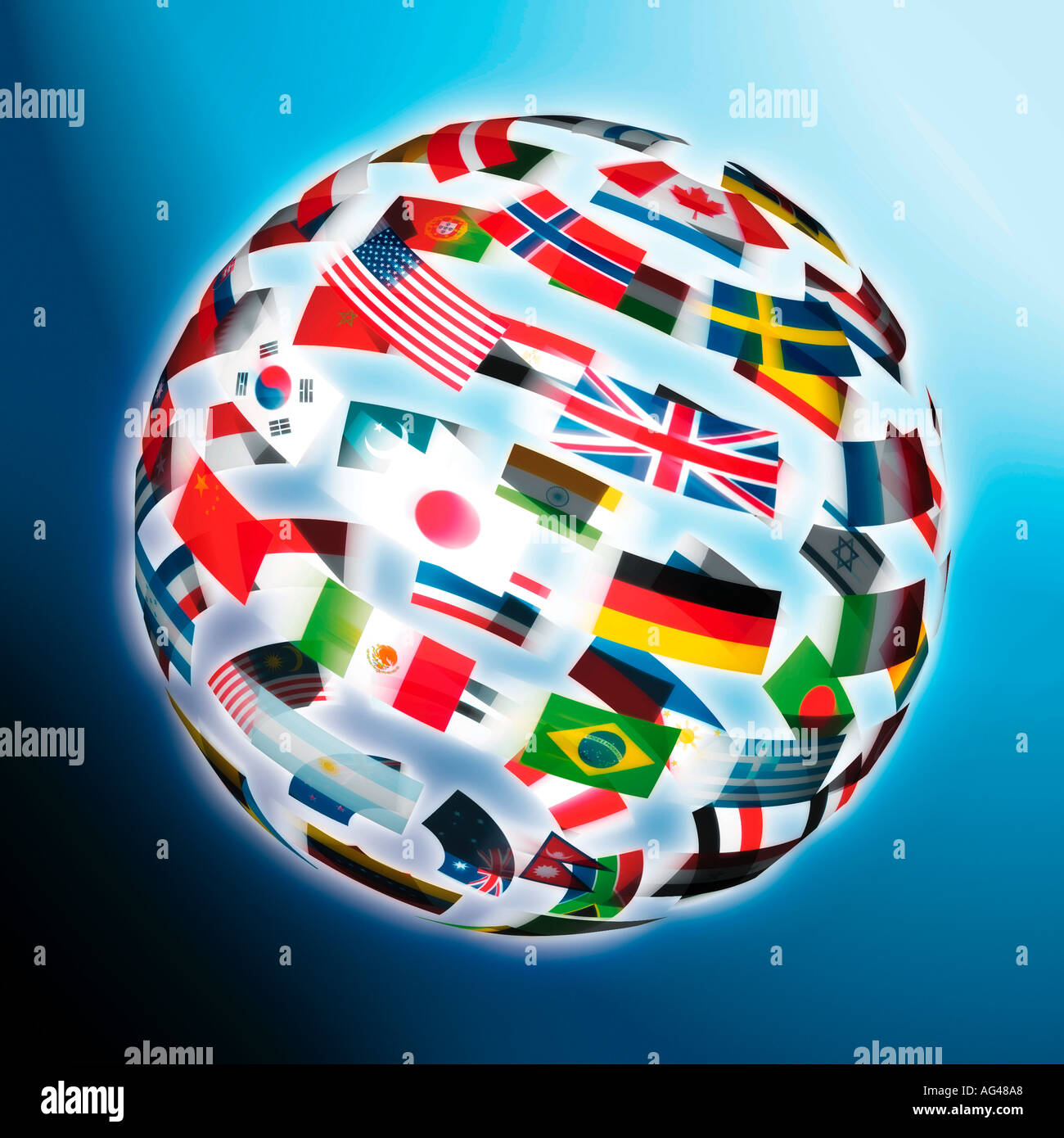 International Flags in the shape of a globe against a blue background. Flag World. - Stock Image