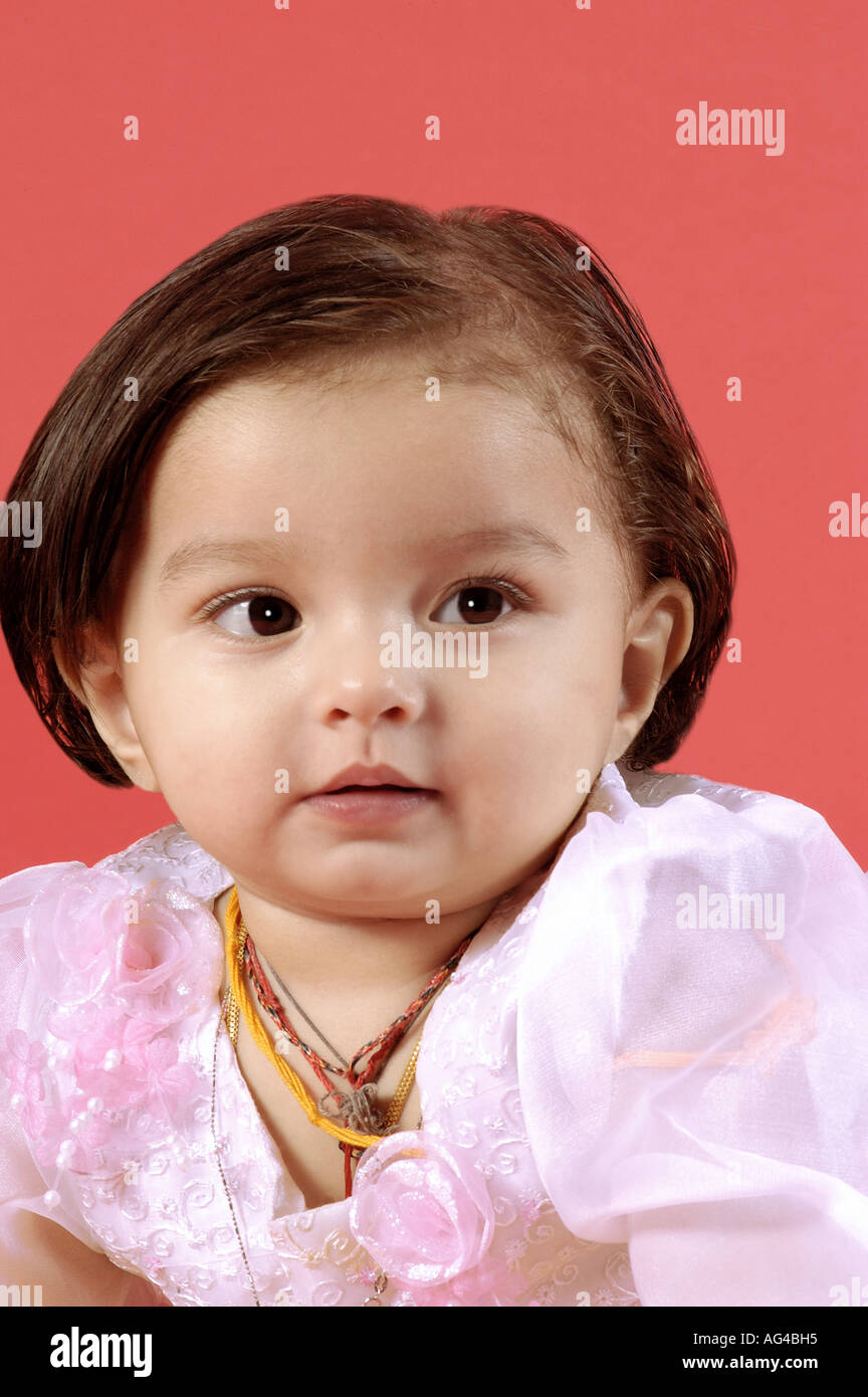 hma79242 south asian indian small baby girl child in different moods
