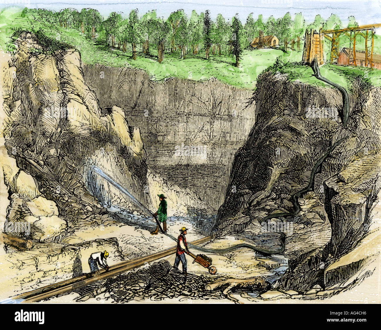 Hydraulic mining at French Corral during the California Gold Rush 1850s. Hand-colored woodcut - Stock Image