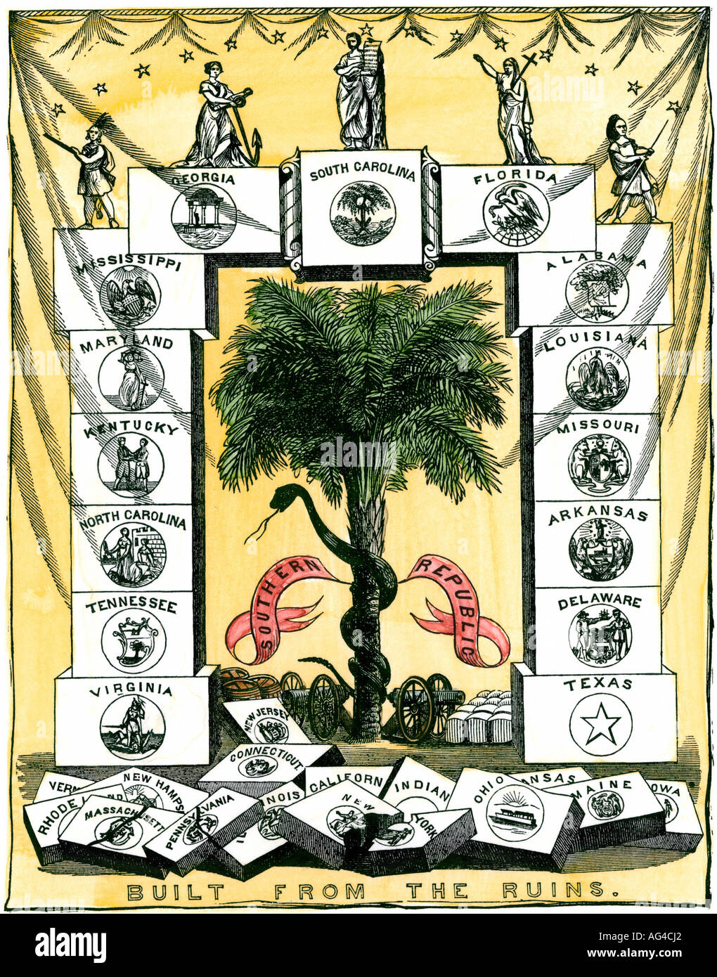 Banner of the Secession Convention in Charleston South Carolina precipitating the US Civil War 1860 and 1861. Hand-colored woodcut - Stock Image