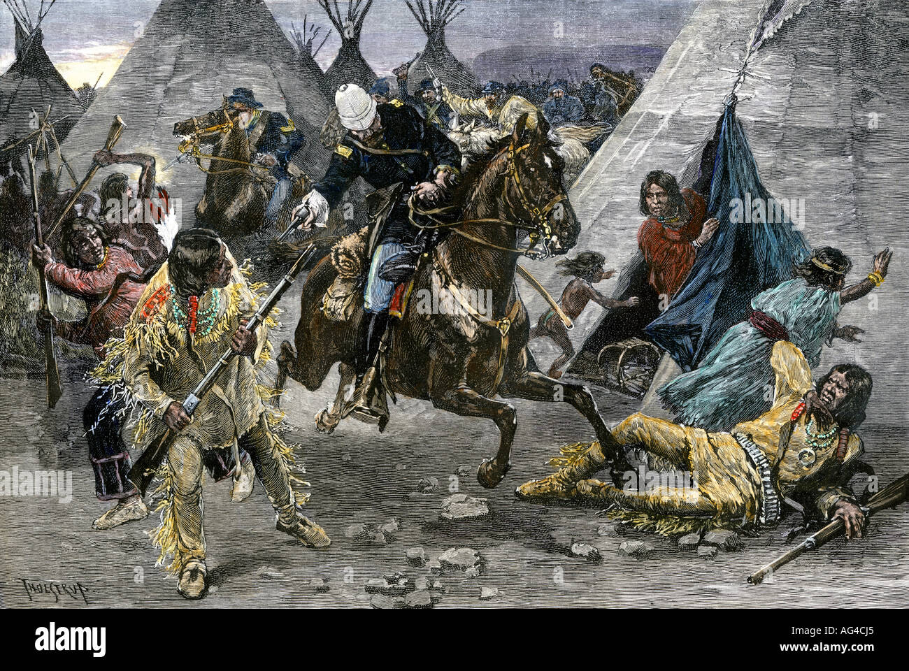 US Cavalry attacking a Sioux Indian village 1880s. Hand-colored woodcut - Stock Image