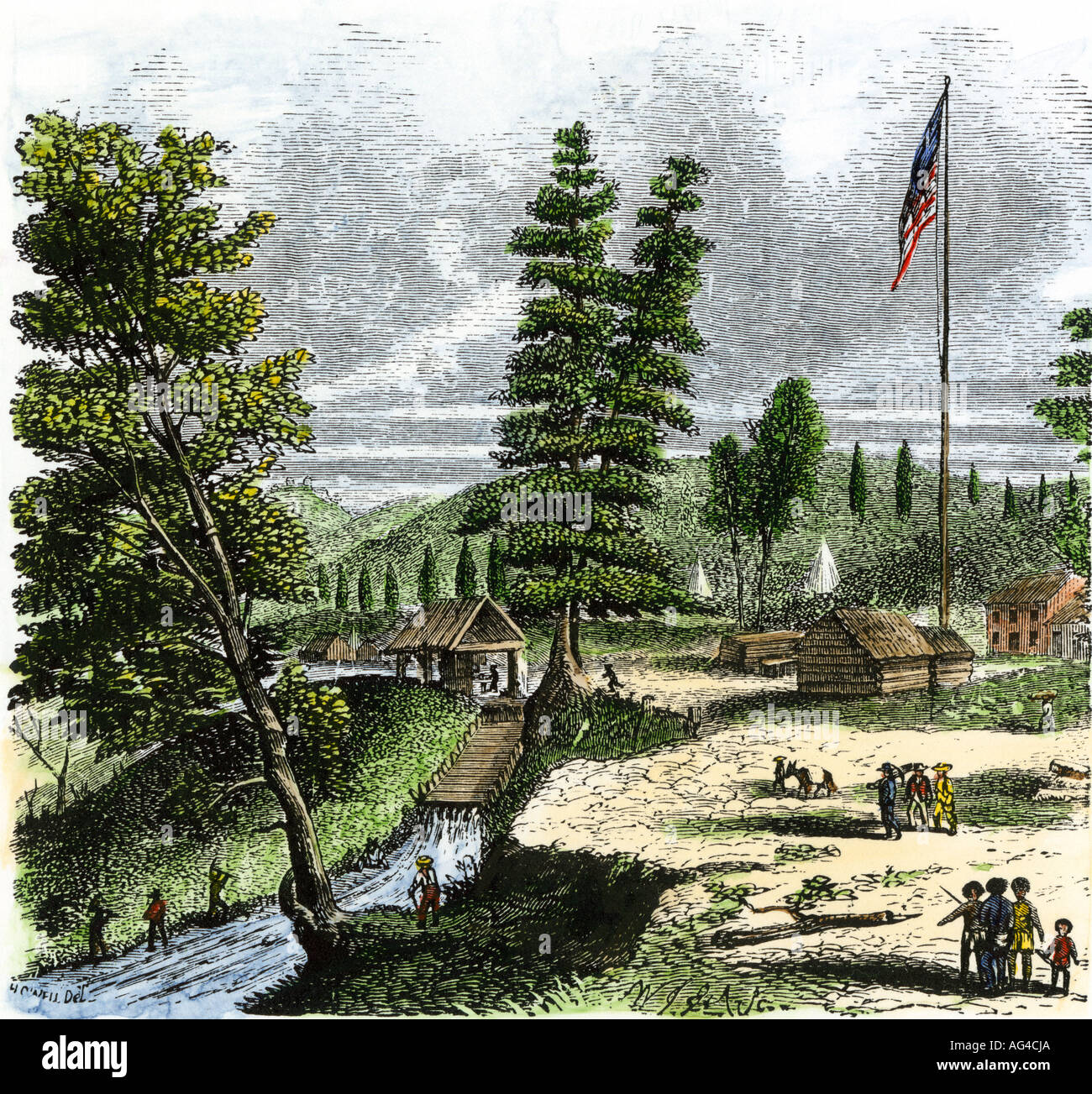 Sutters Mill the site of gold discovery by James Marshall in California 1848. Hand-colored woodcut - Stock Image