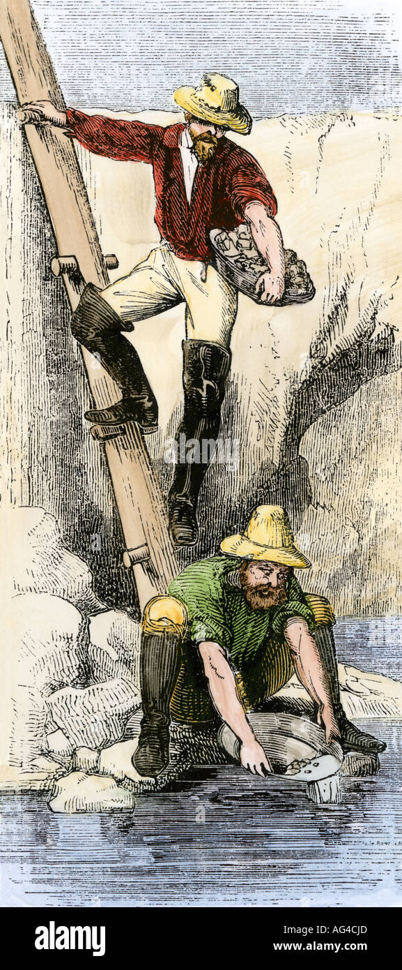 Prospectors panning for gold in California during the gold rush. Hand-colored woodcut - Stock Image