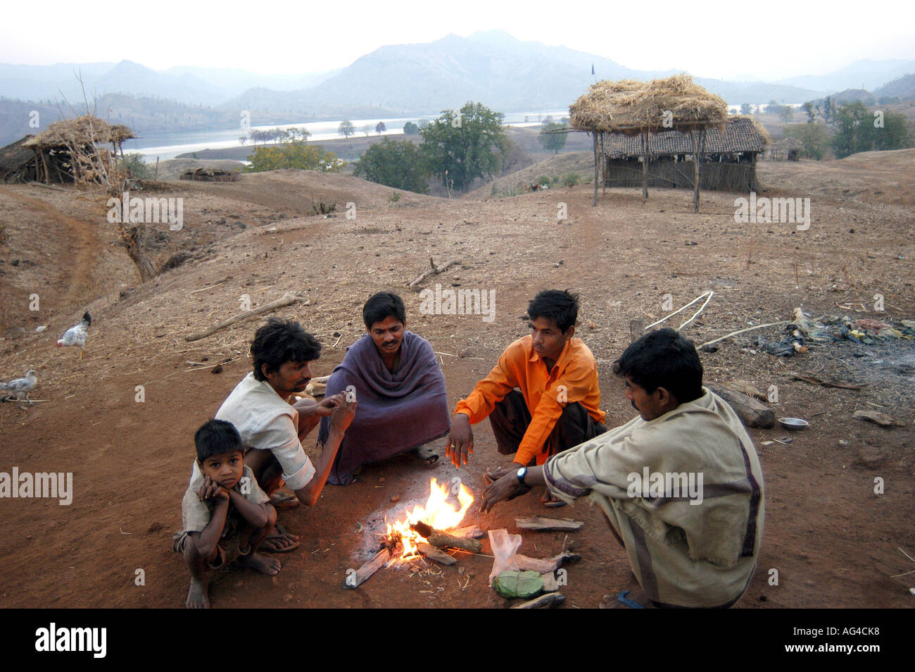 Asb79442 Indian Village People Warming Hands In Winter At