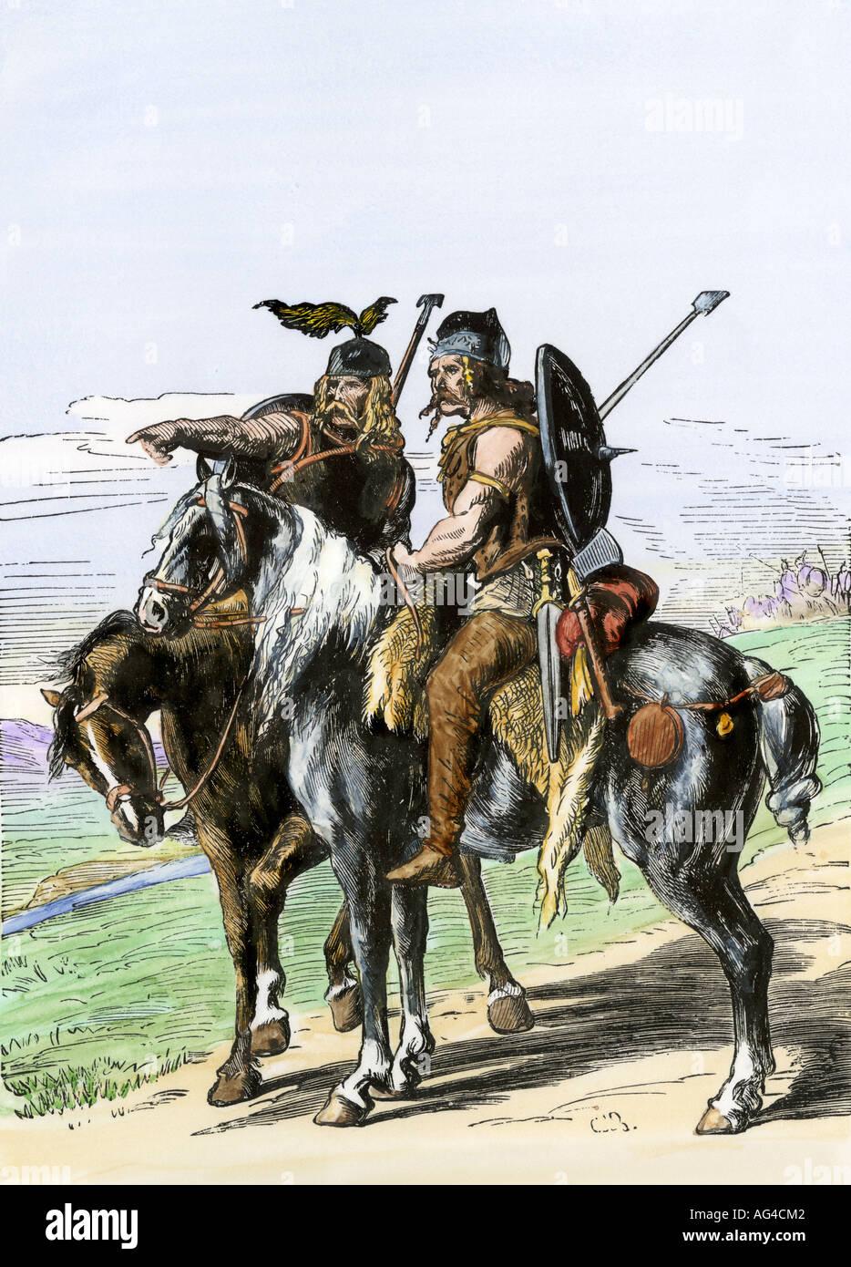 Gauls on horseback under the Roman Empire. Hand-colored woodcut - Stock Image