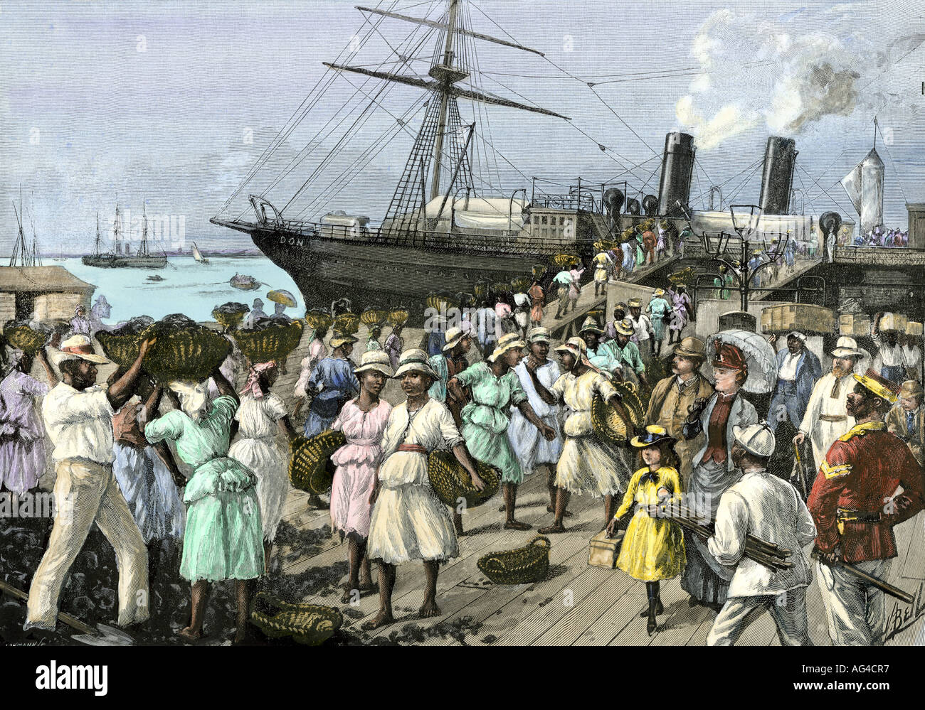 Native women carrying coal to a steamship at Kingston Jamaica 1880s. Hand-colored halftone of an illustration - Stock Image