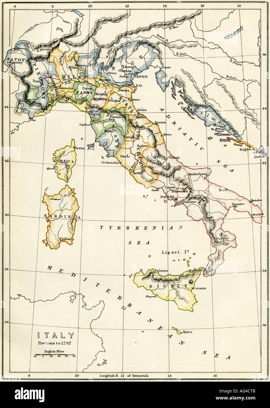 Map of Italy showing political divisions before 1797. Color lithograph - Stock Image