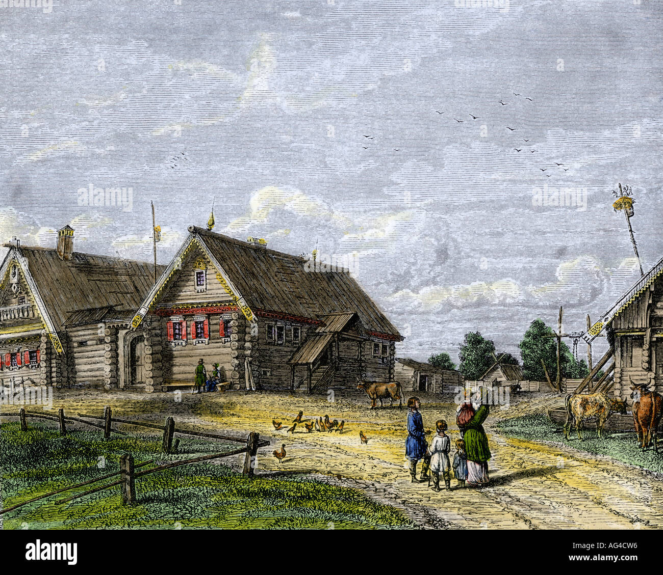 Russian village in the southern agricultural zone 1800s. Hand-colored woodcut - Stock Image