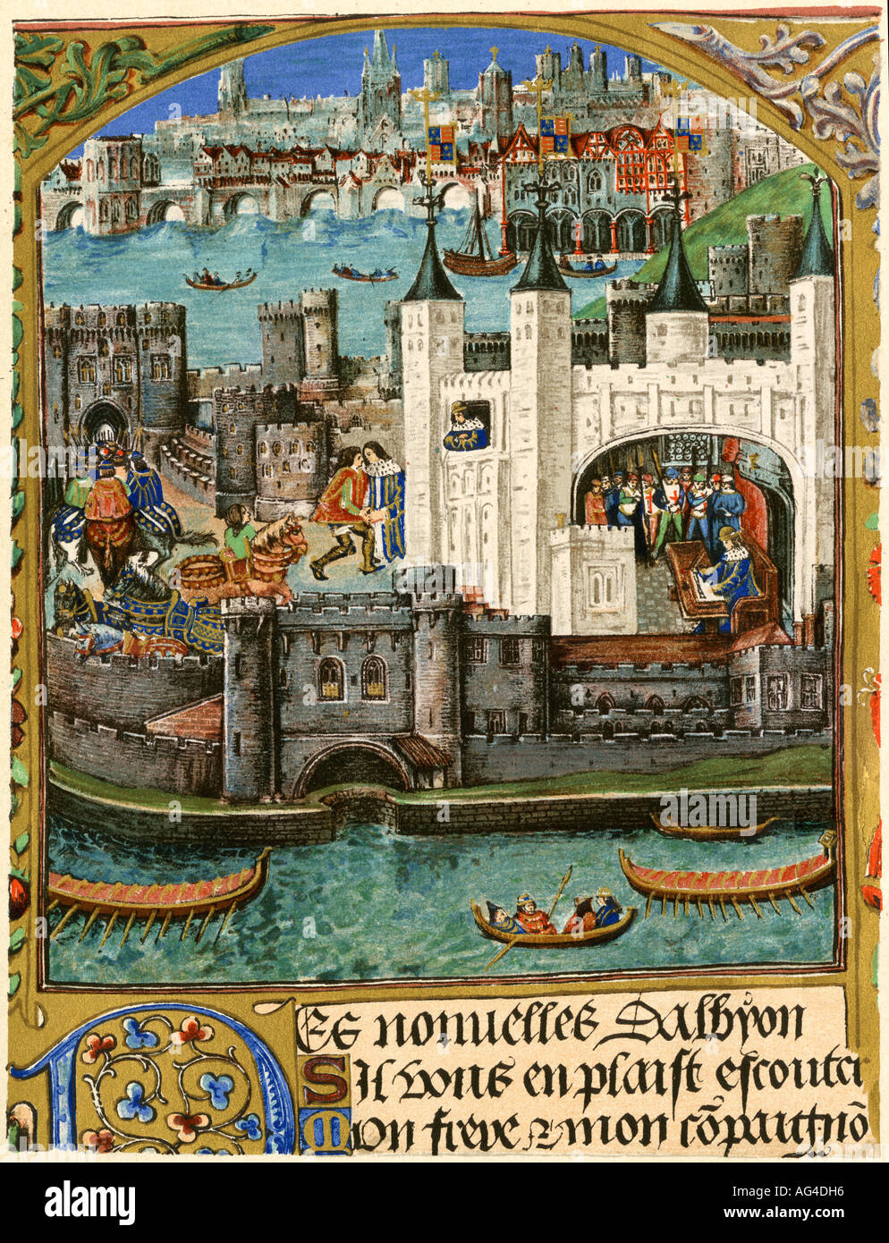 Tower of London during the time of Henry VII circa late 1400s. Color lithograph - Stock Image