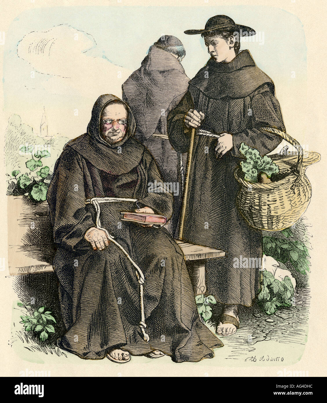 Franciscan monks in their vegetable garden Middle Ages - Stock Image