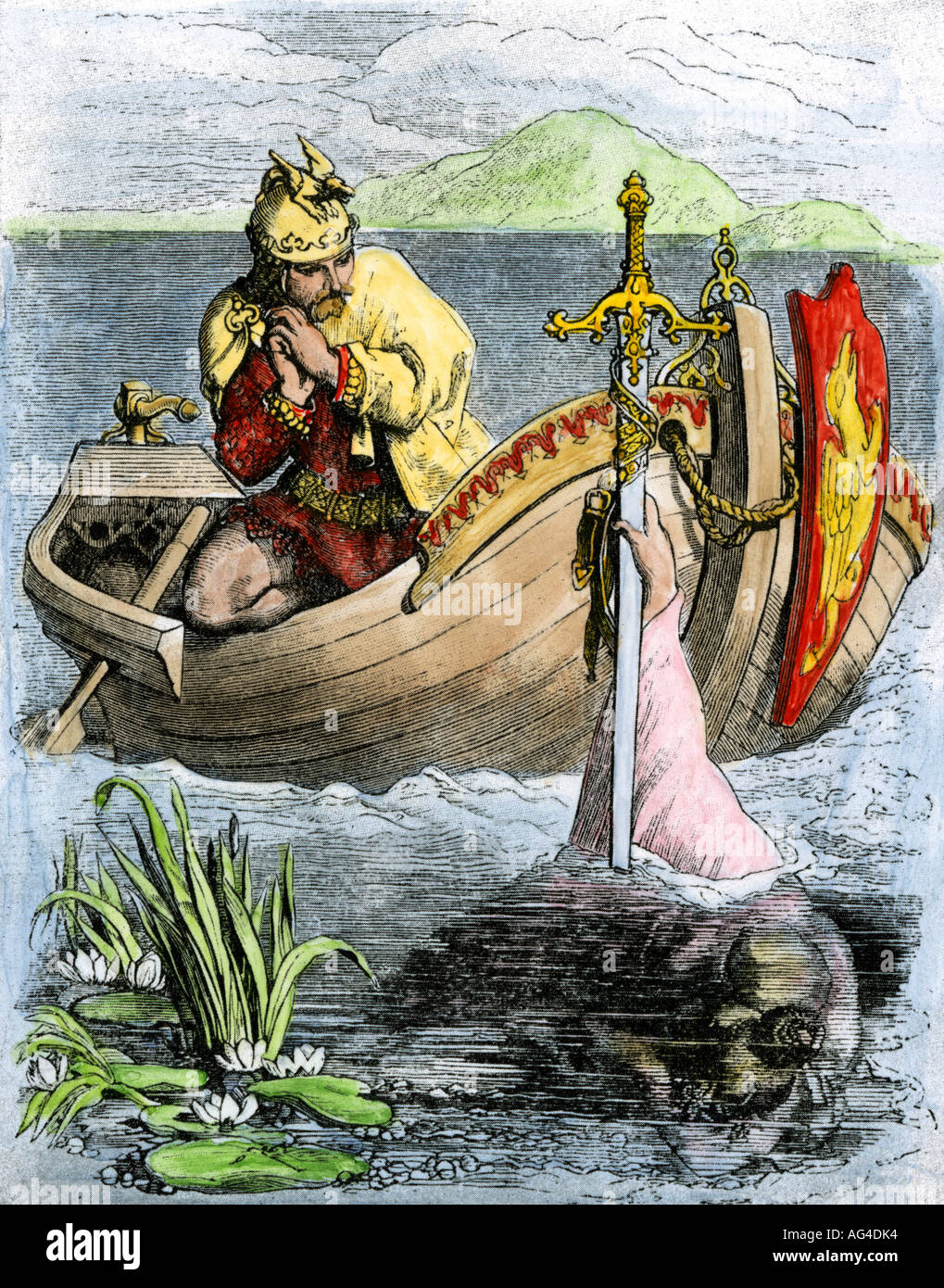 King Arthur receiving his magic sword Excalibur from the Lady of the Lake. Hand-colored woodcut - Stock Image