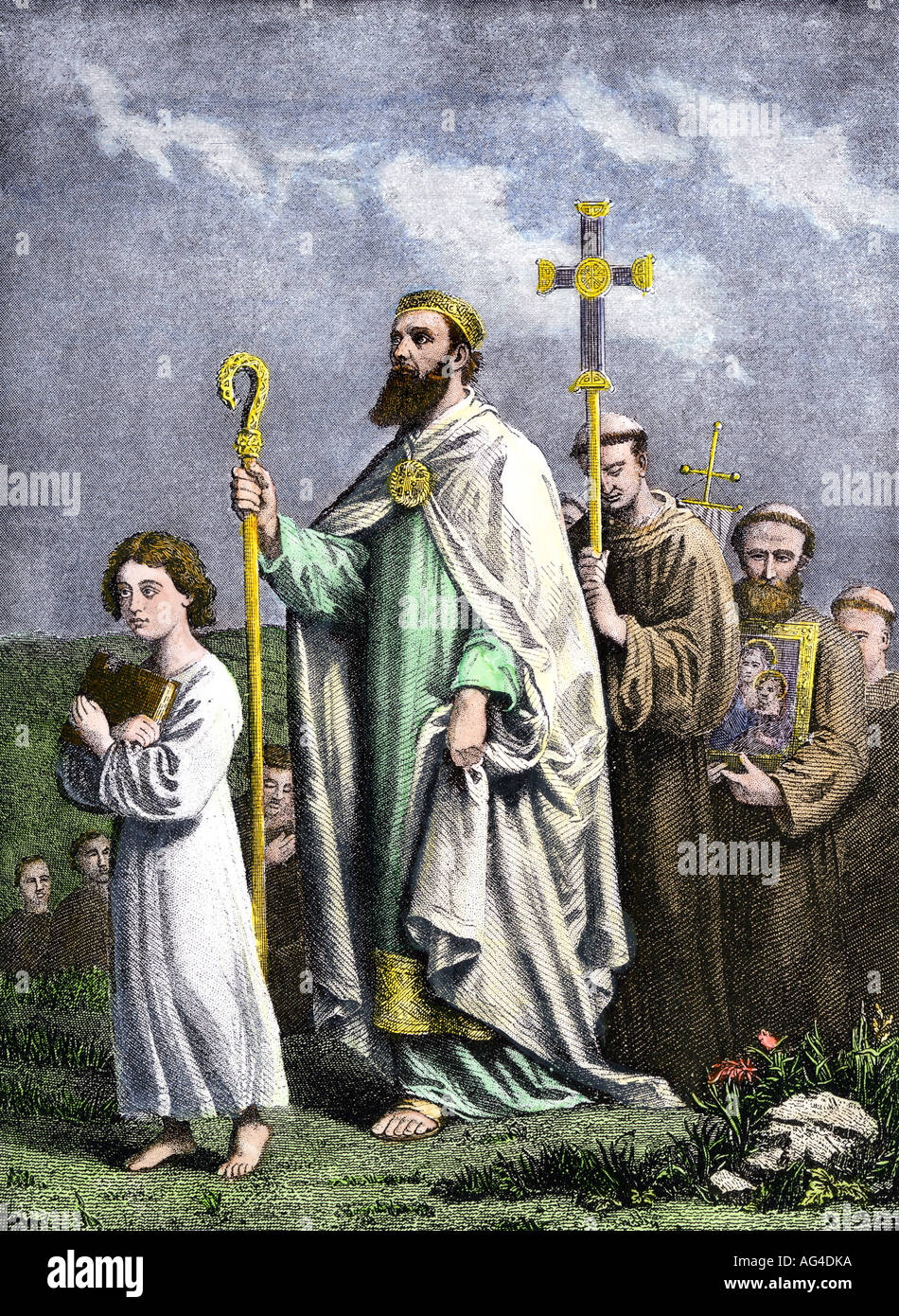 Saint Patrick journeying to Tara to convert the Irish to Christianity in the 5th century AD. Hand-colored halftone Stock Photo