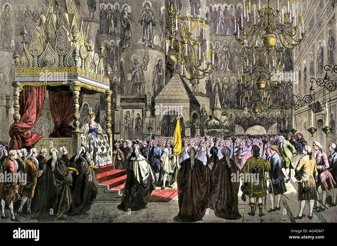 Coronation of Catherine the Great as Empress of Russia 1762. Hand-colored  woodcut -