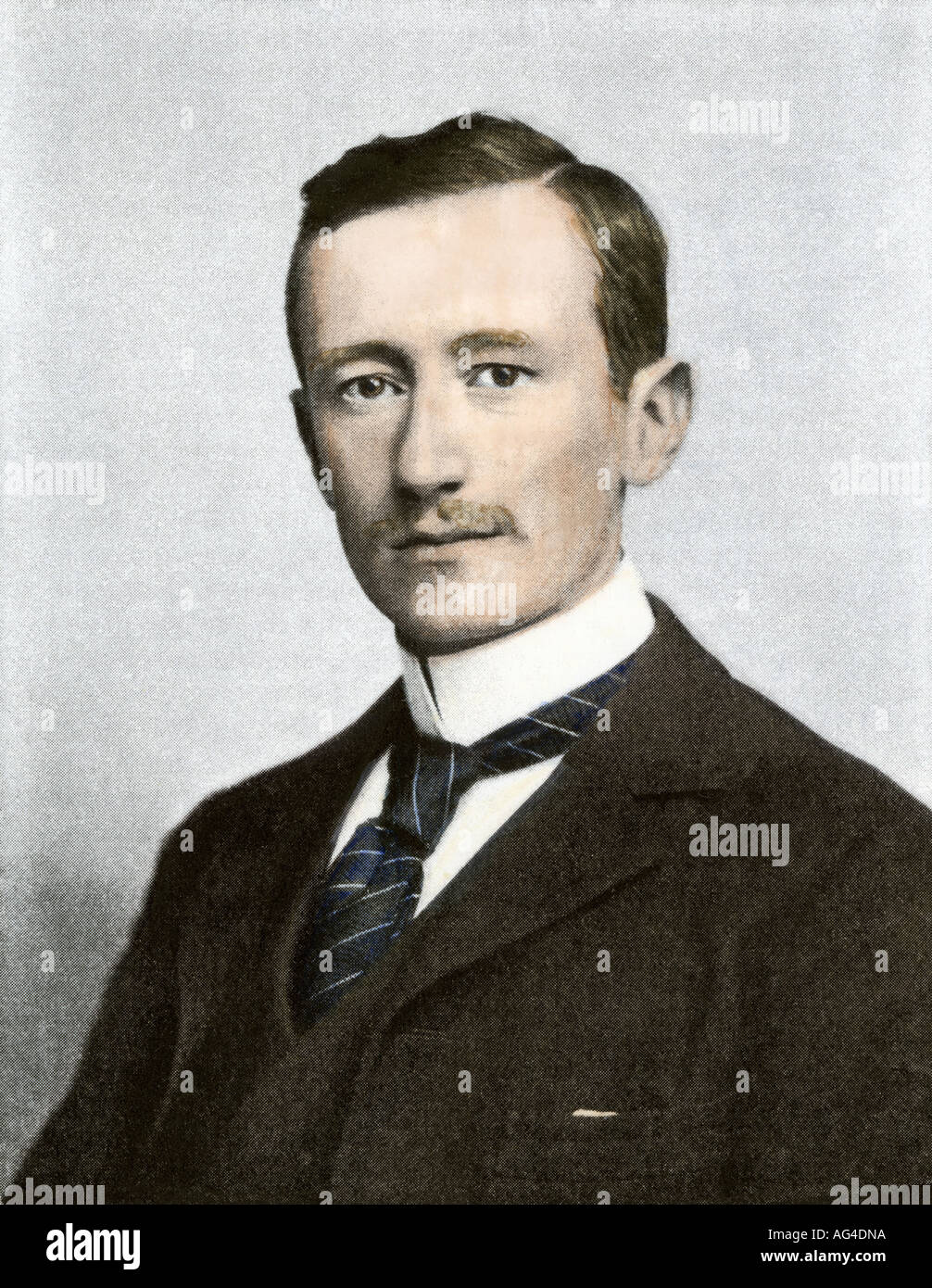 Portrait of Guglielmo Marconi. Hand-colored halftone of a photograph - Stock Image