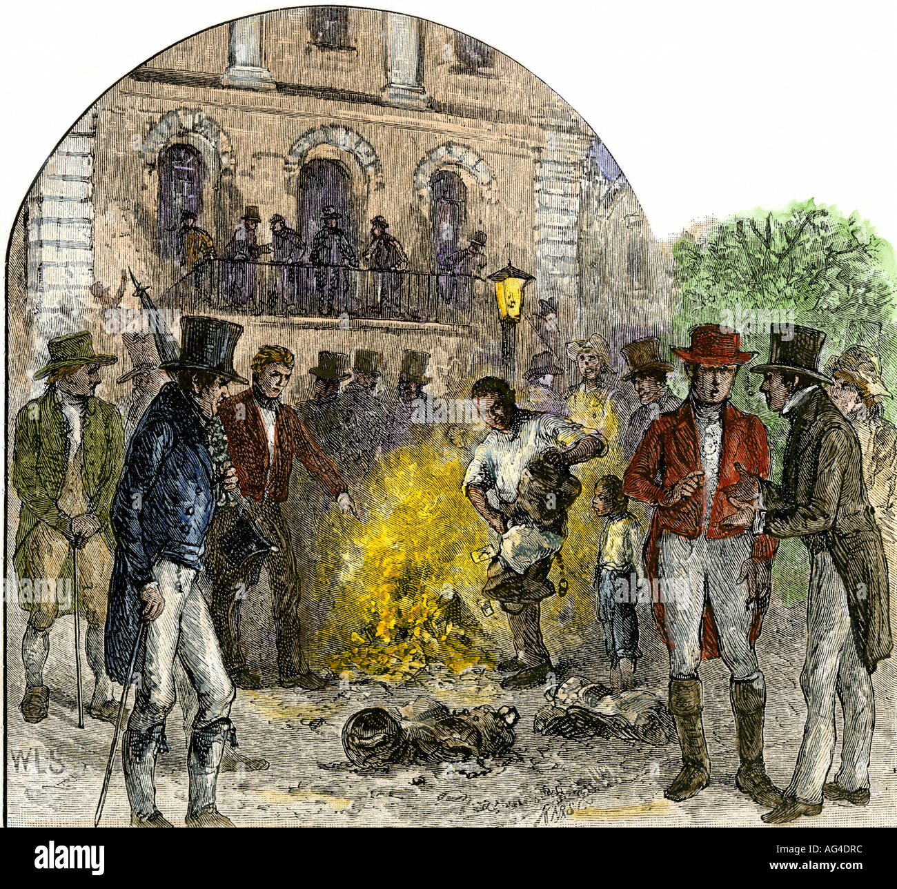 Slavery proponents burning antislavery documents in Charleston South Carolina in the 1830s. Hand-colored woodcut - Stock Image
