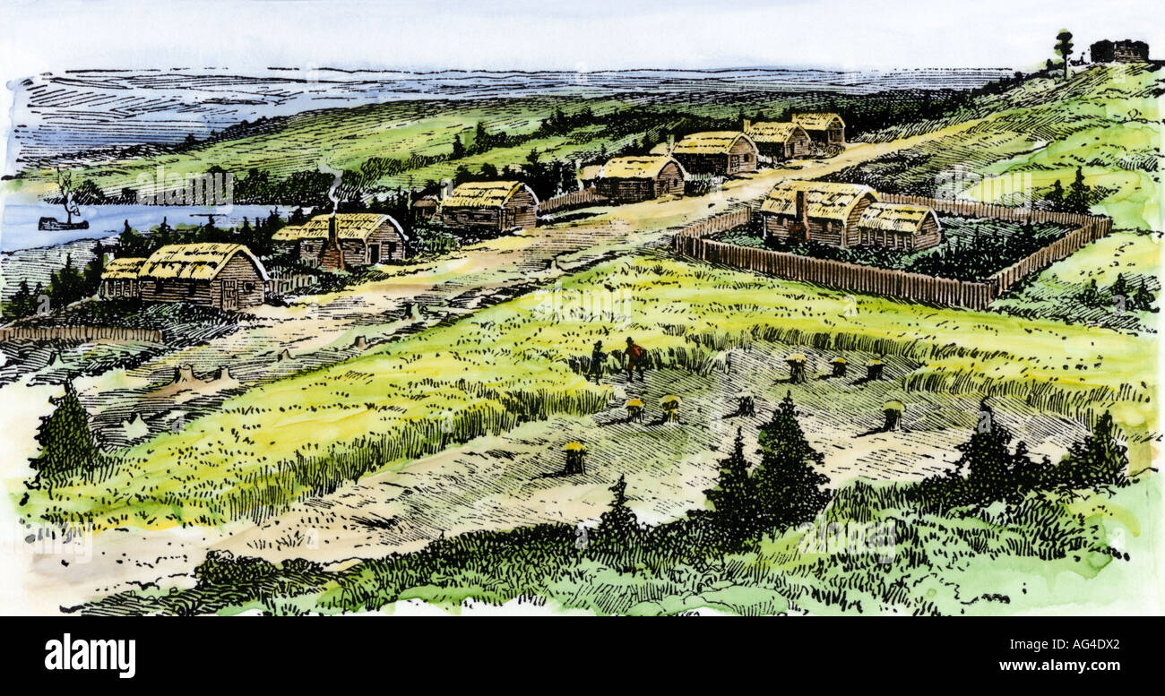 The Tiny Settlement Of Plymouth Colony In 1622 Stock Photo