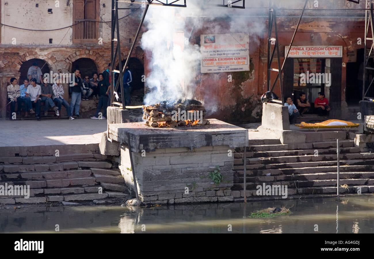 Cremation at Pashpatinath, Nepal - Stock Image