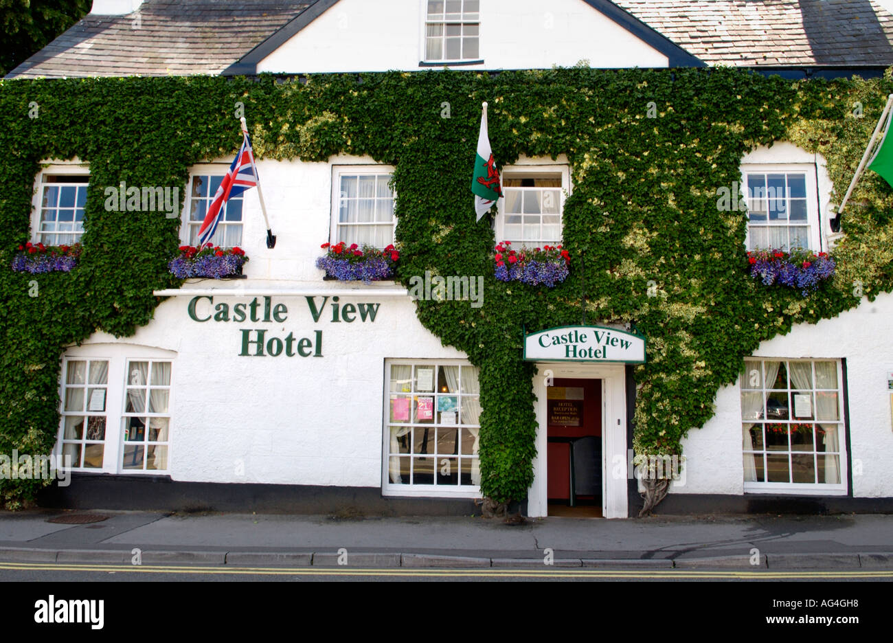 Exterior of the ivy covered Castle View Hotel at Chepstow Monmouthshire South East Wales UK - Stock Image