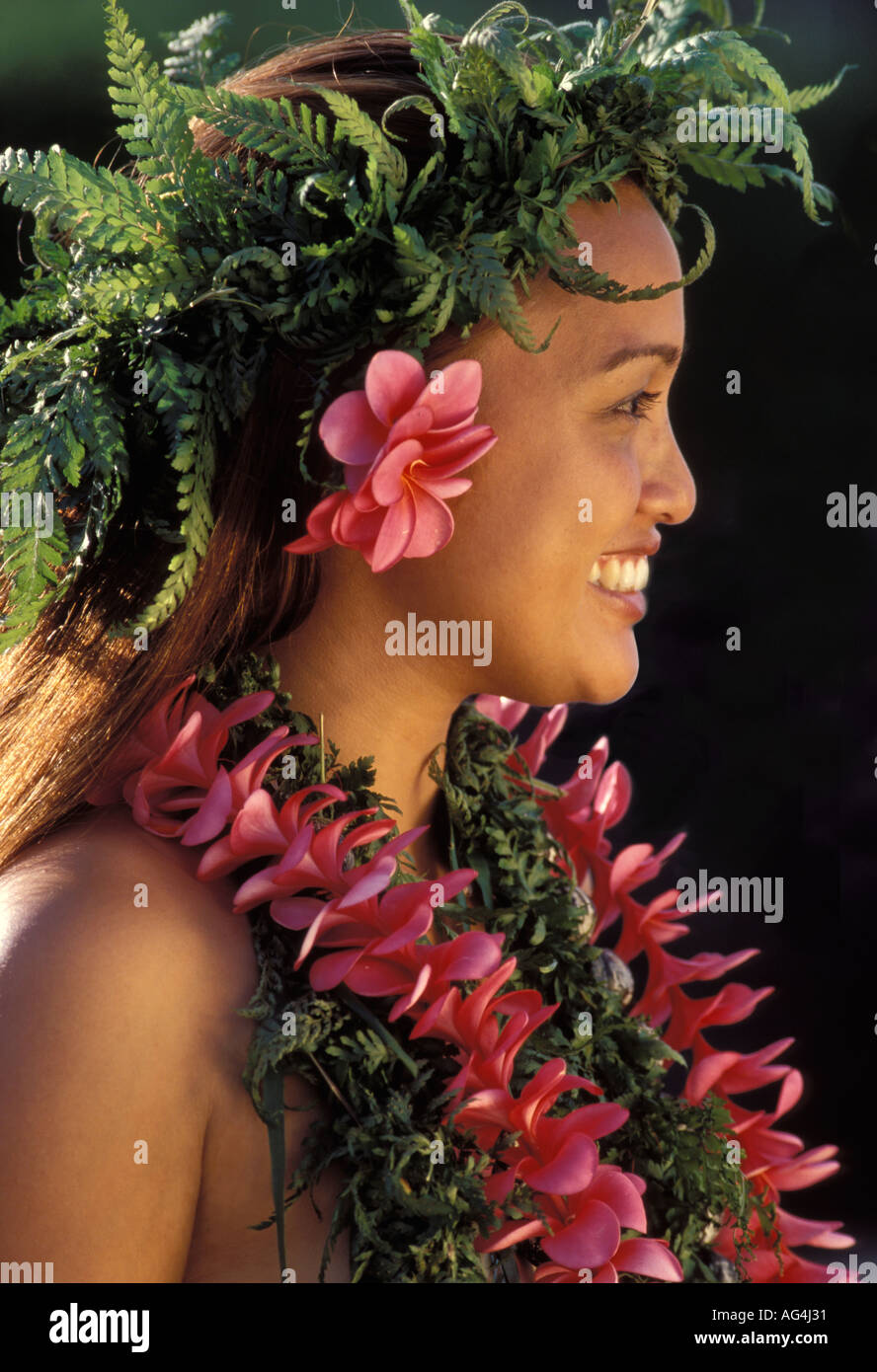 Flower lei maui stock photos flower lei maui stock images alamy profile of a real hawaiian girl with ferns and flowers stock image izmirmasajfo