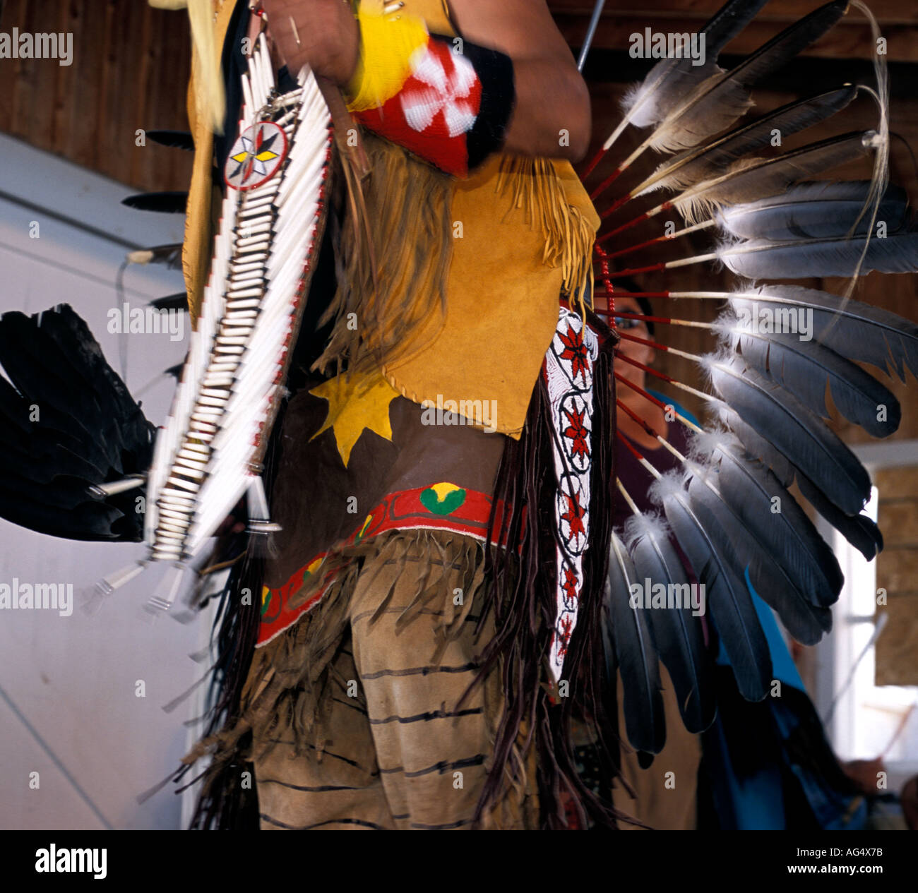 Native American dancers in Western Plains traditional dress with eagle feathers - Stock Image