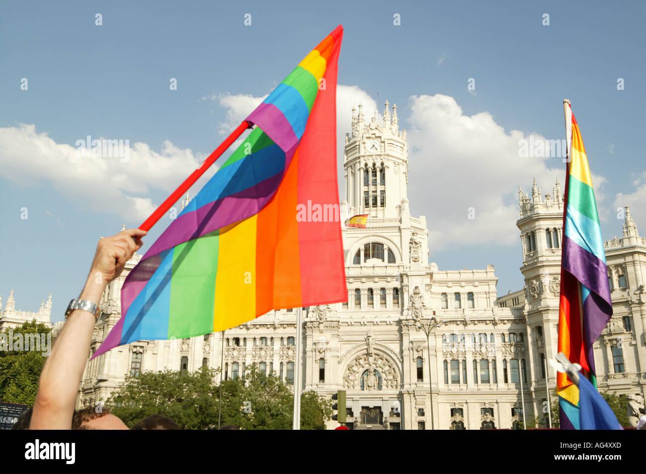 flag, gay, pride, holiday, Madrid, Cibeles, Spain, homosexual,