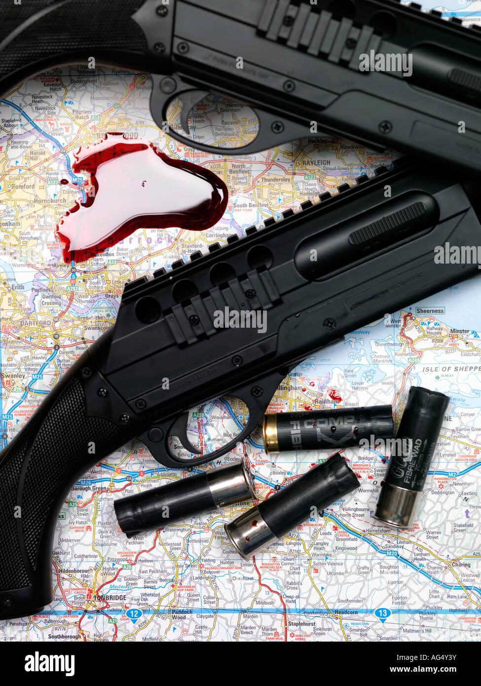 Pump Action Shotguns - Stock Image